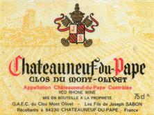 Célèbre Cote Châteauneuf-du-Pape Clos du Mont-Olivet Bernard Sabon  NW38