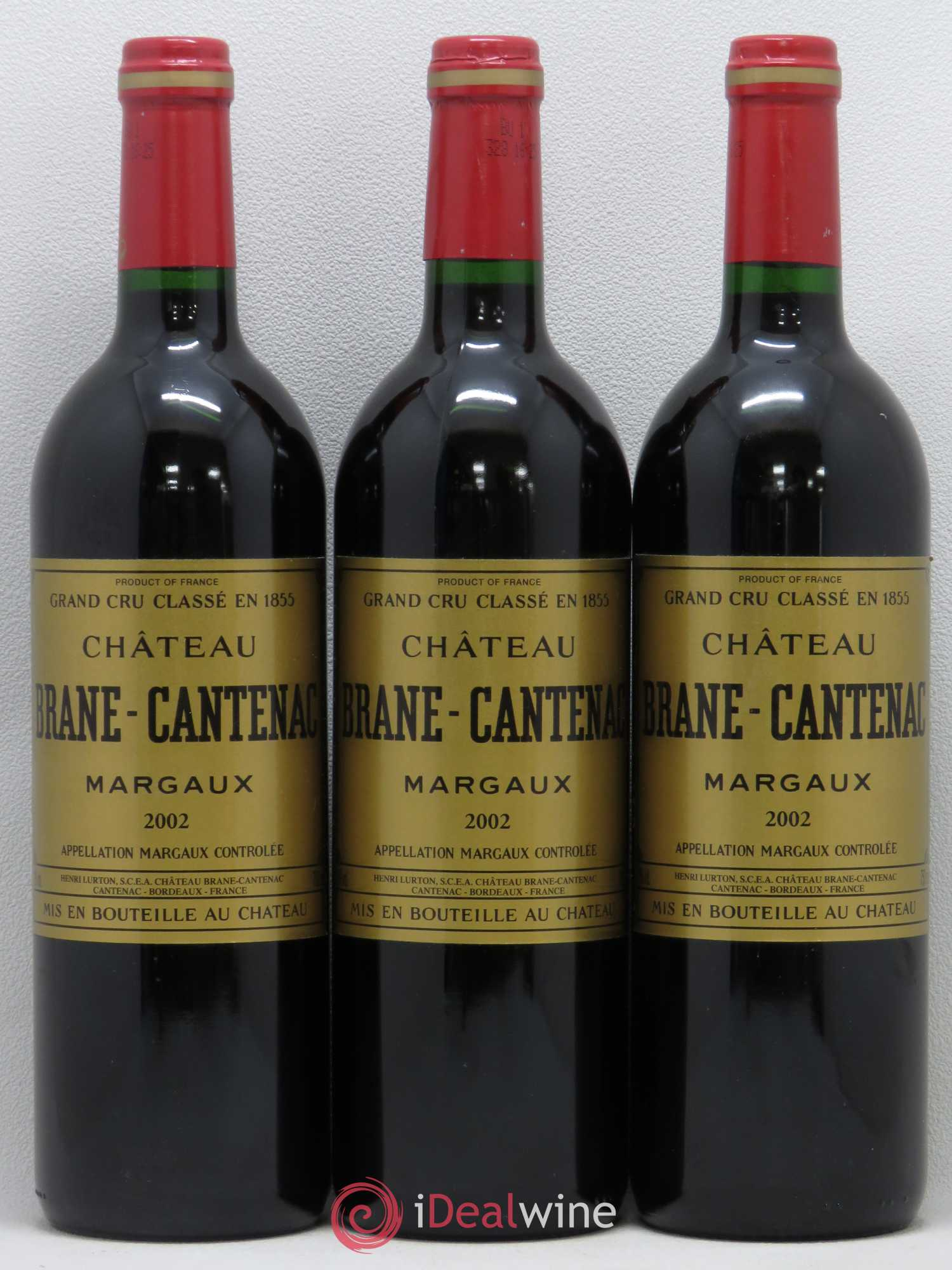 Château Brane Cantenac 2ème Grand Cru Classé (no reserve) 2002 - Lot of 3 Bottles