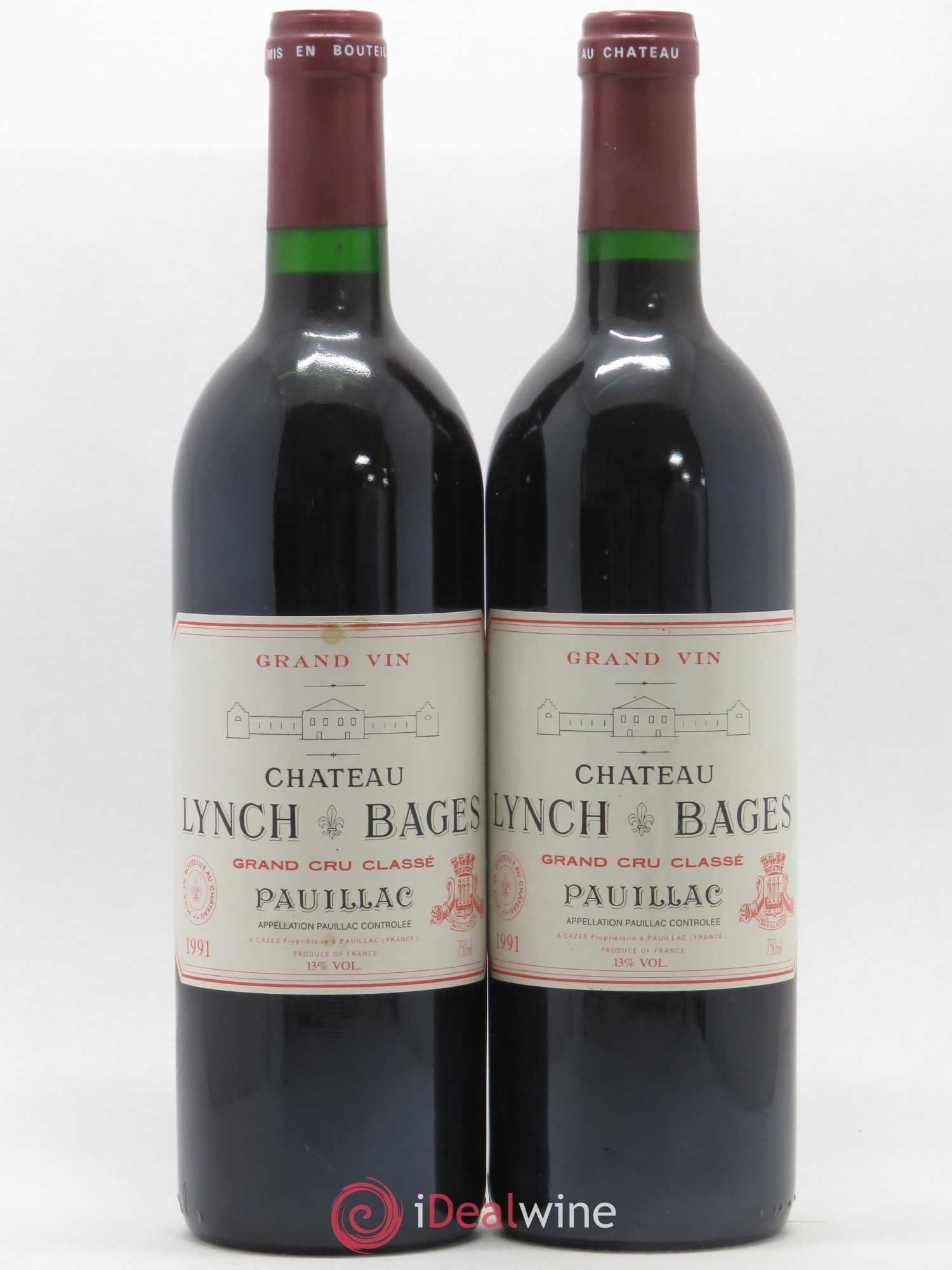 Château Lynch Bages 5ème Grand Cru Classé  1991 - Lot of 2 Bottles