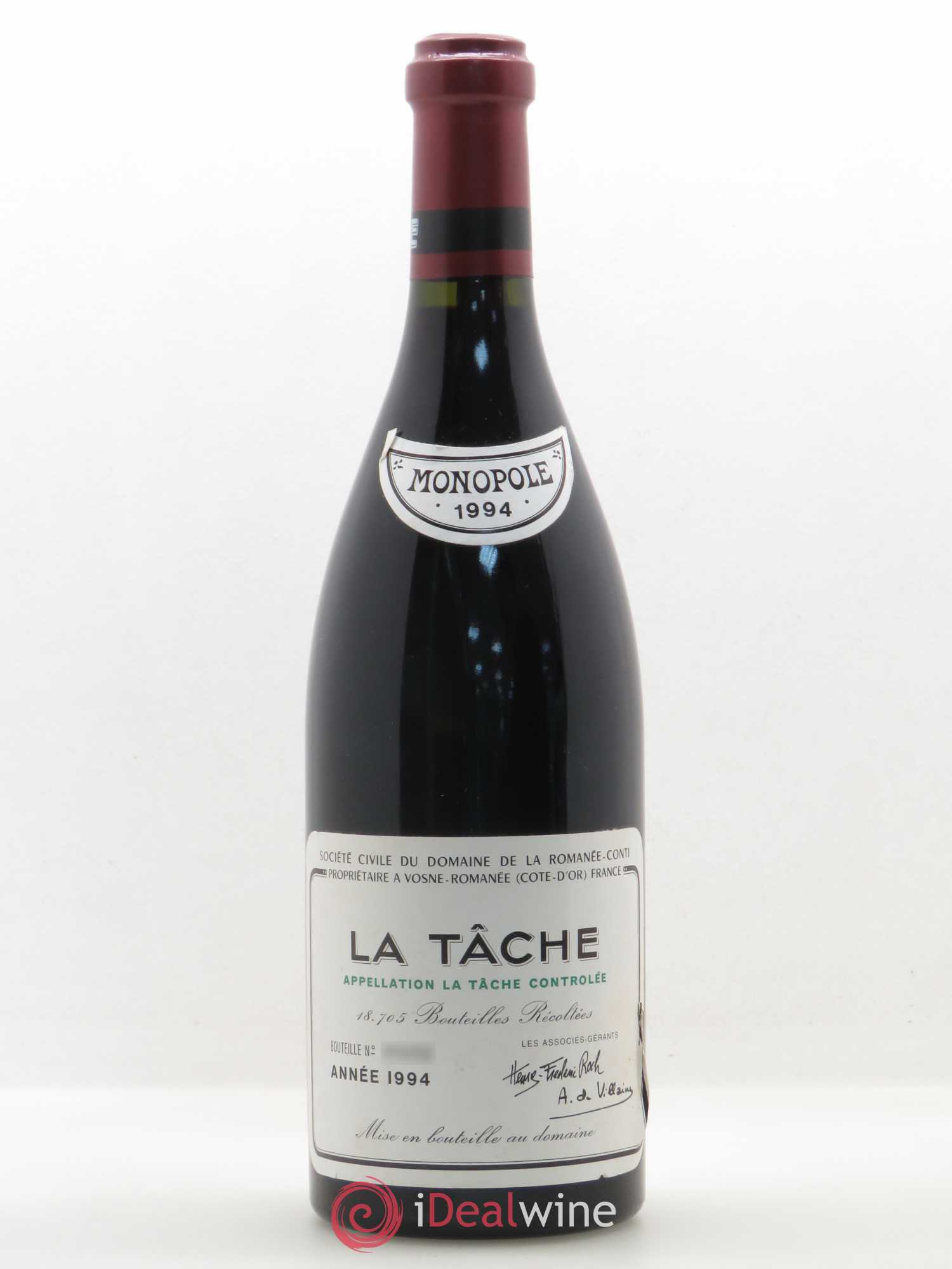 La Tâche Grand Cru Domaine de la Romanée-Conti  1994 - Lot of 1 Bottle