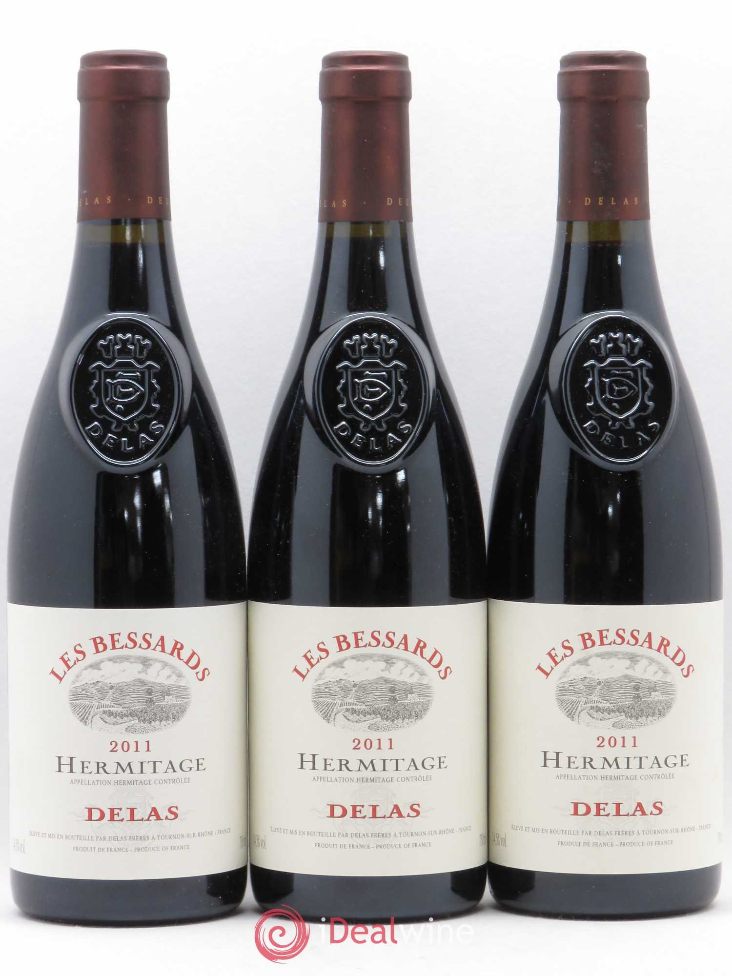 Hermitage Les Bessards Delas Frères  2011 - Lot of 3 Bottles