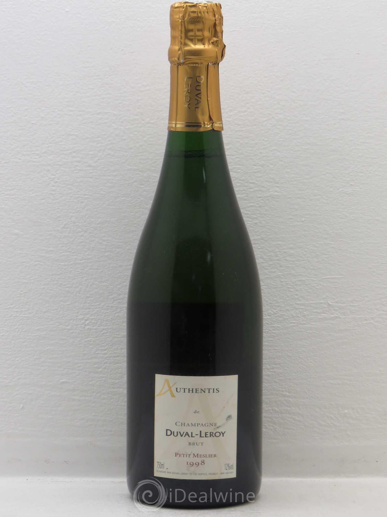 acheter brut champagne duval leroy petit meslier authentis 1998 lot 1771. Black Bedroom Furniture Sets. Home Design Ideas