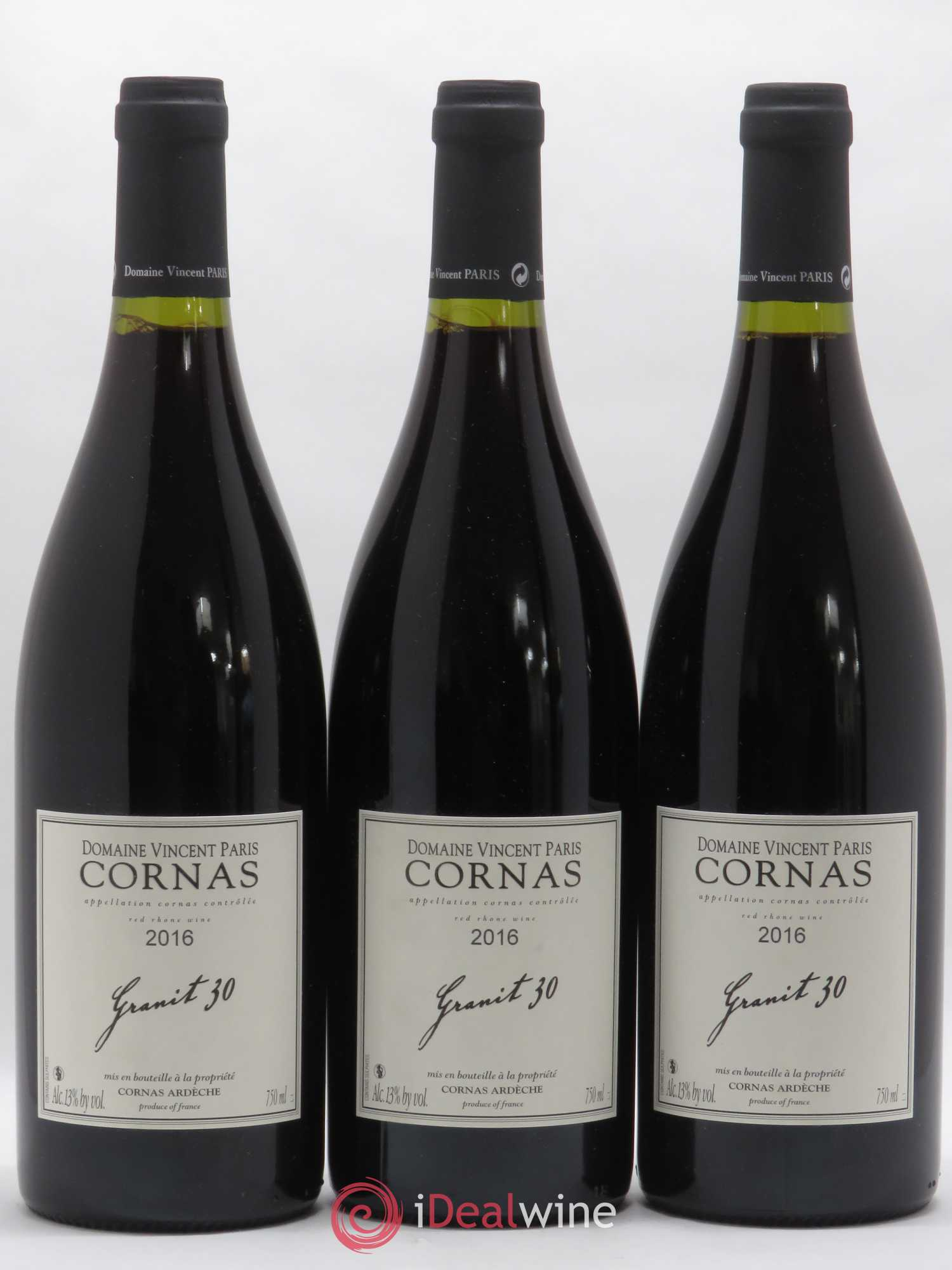 Cornas Granit 30 Vincent Paris  2016 - Lot of 3 Bottles