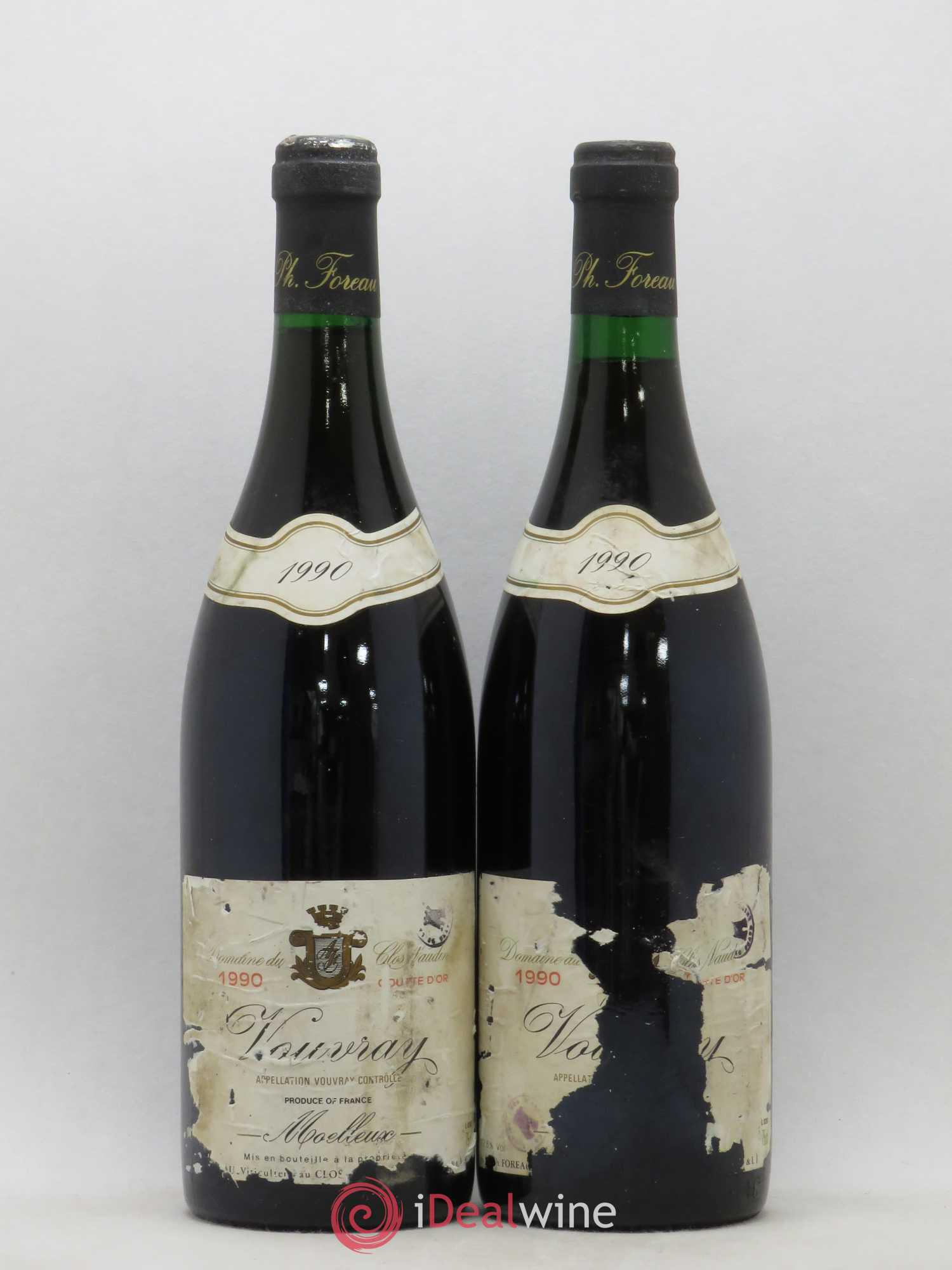 Vouvray Goutte d'Or Clos Naudin - Philippe Foreau (no reserve) 1990 - Lot of 2 Bottles