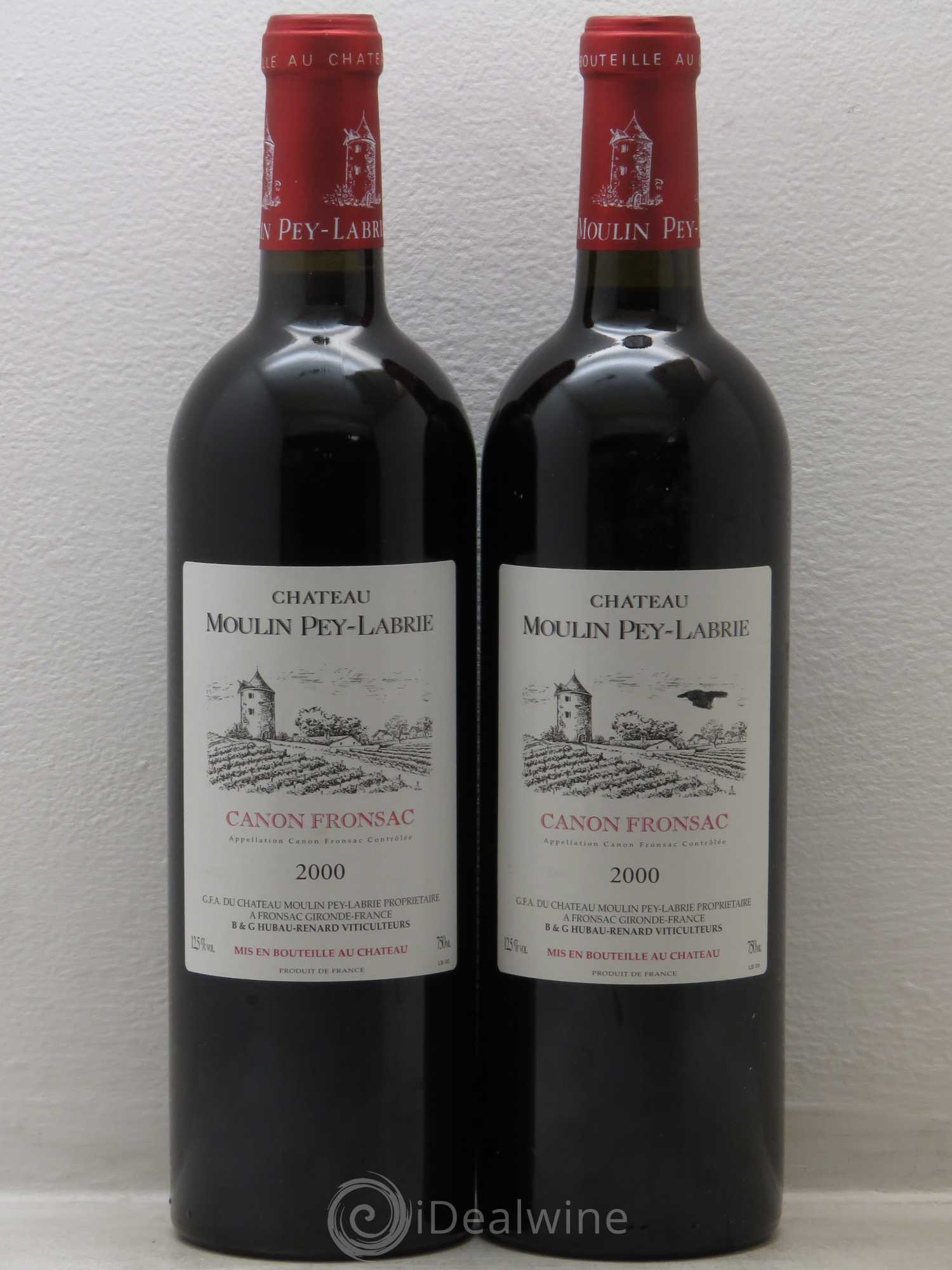 Château Moulin Pey-Labrie  2000 - Lot of 2 Bottles