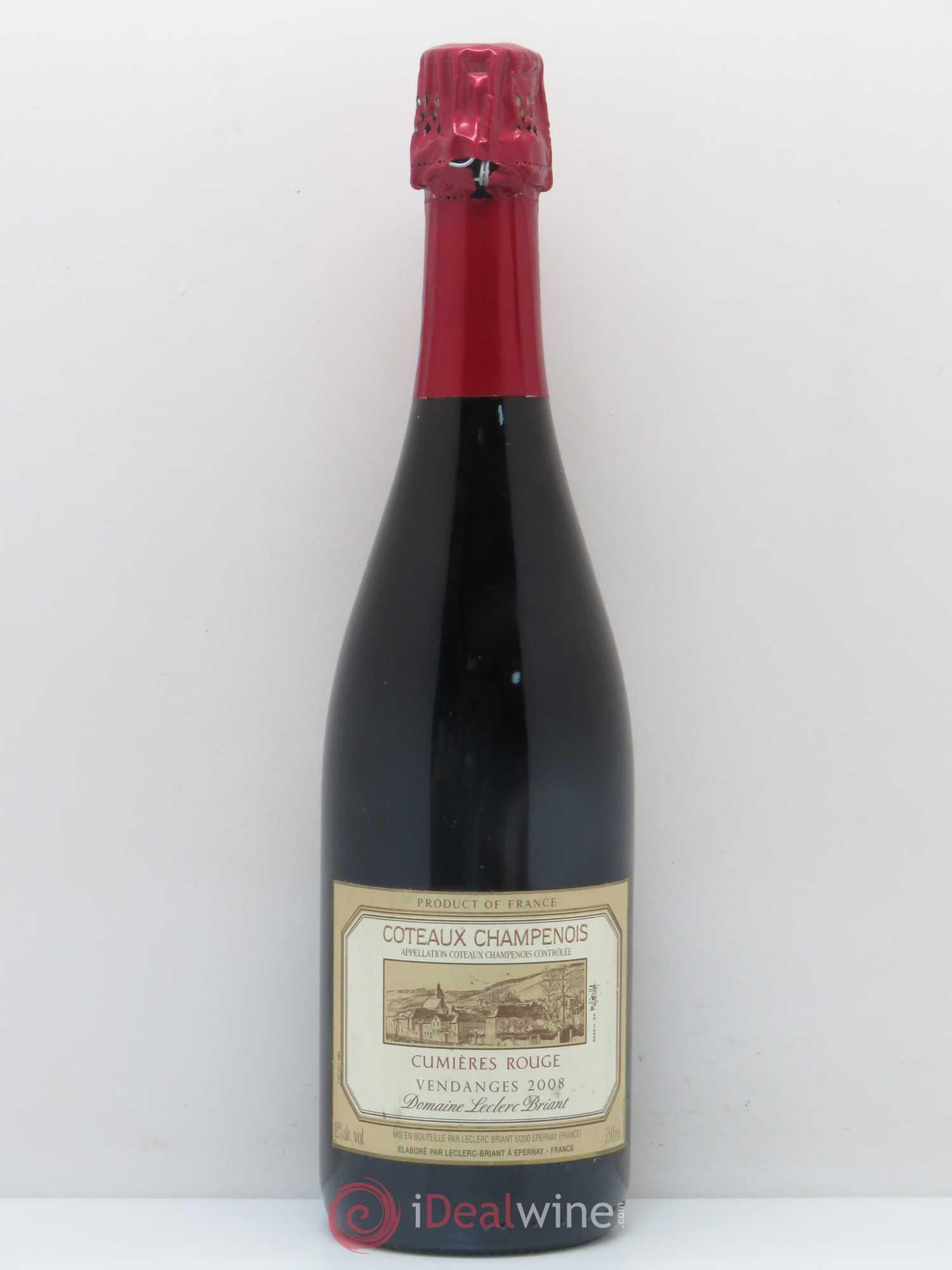 acheter divers coteaux champenois cumi res rouge leclerc briant 2008 lot 1554. Black Bedroom Furniture Sets. Home Design Ideas
