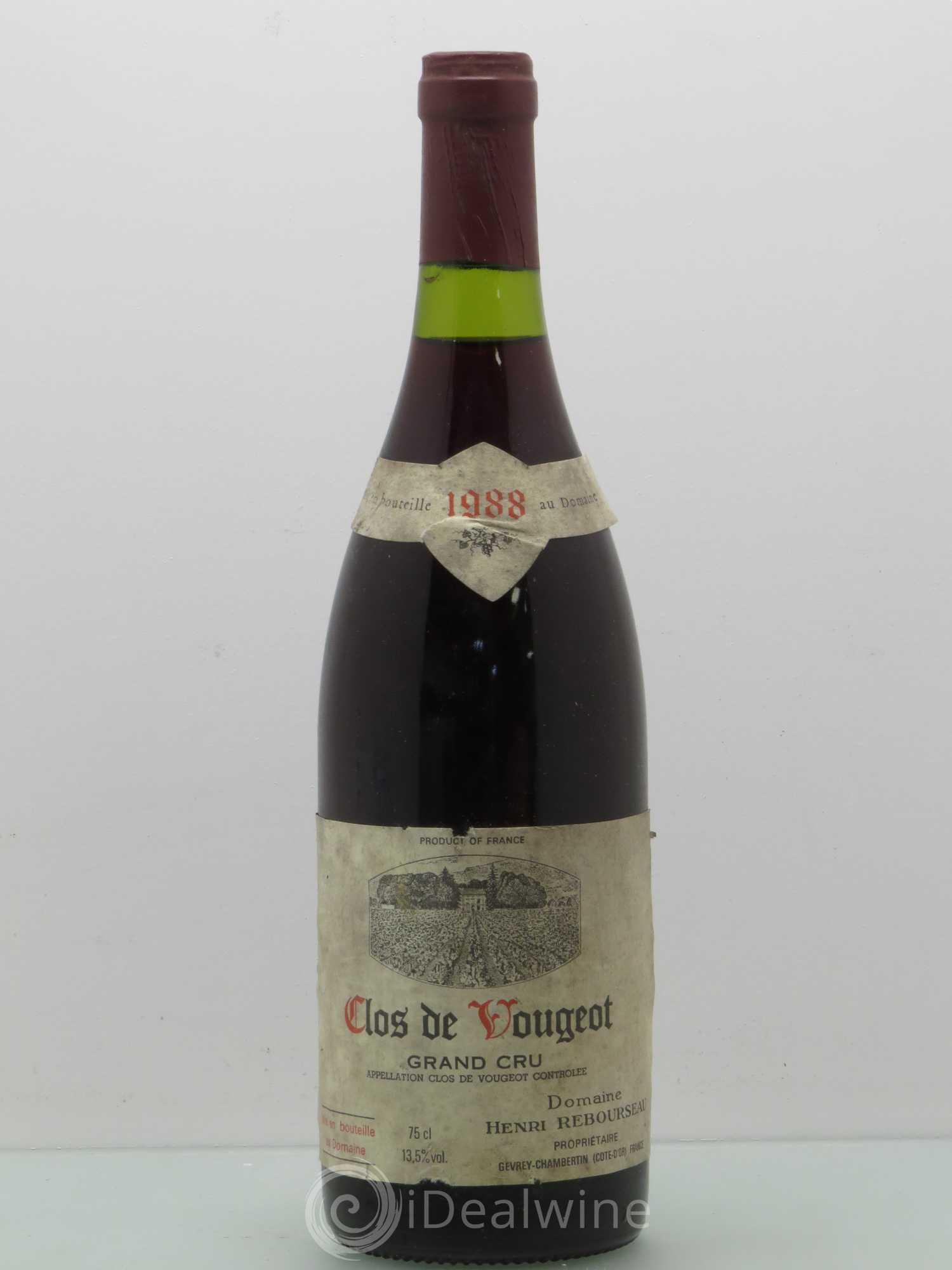 rare ETIQUETTE de VIN  CLOS DE VOUGEOT GRAND PREMIER CRU    1937