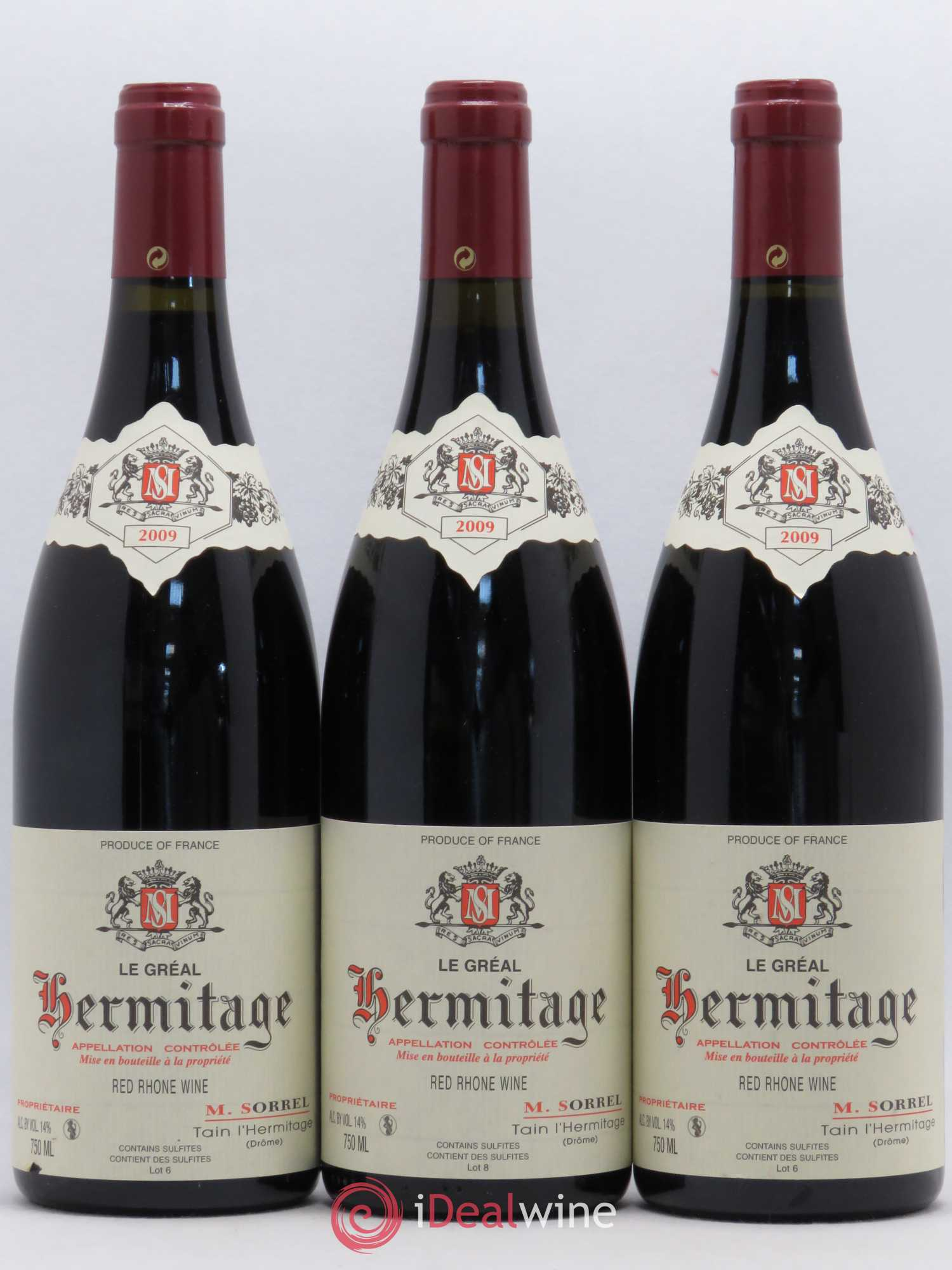 Hermitage Le Gréal Domaine Marc Sorrel  2009 - Lot of 3 Bottles