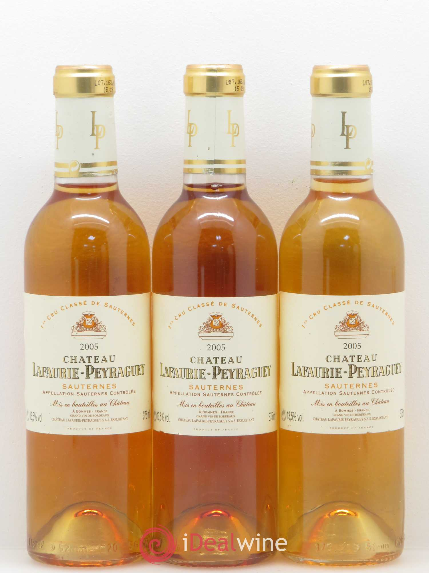 Château Lafaurie Peyraguey 1er Grand Cru Classé (no reserve) 2005 - Lot of 3 Half-bottles