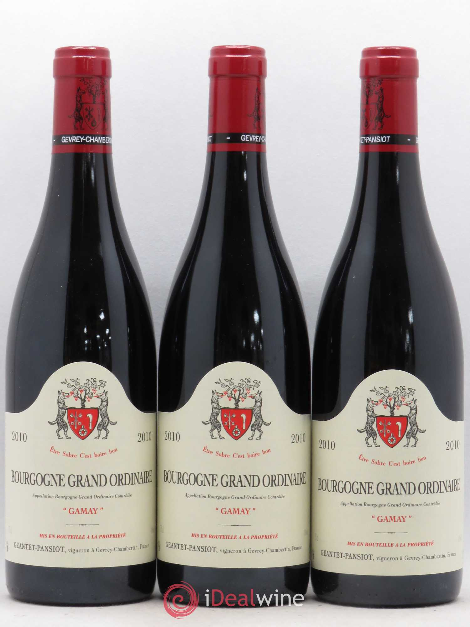 Bourgogne Grand Ordinaire Gamay Geantet Pansiot (no reserve) 2010 - Lot of 3 Bottles