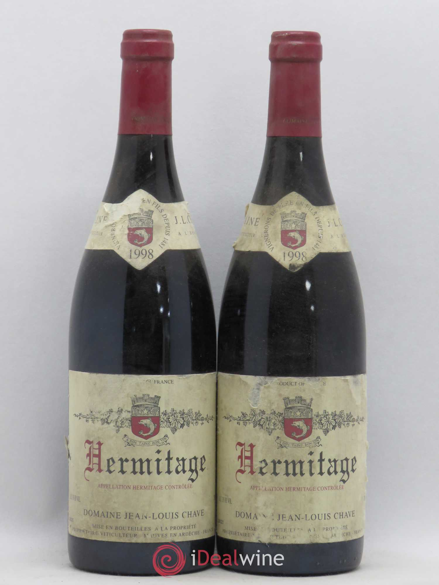 Hermitage Jean-Louis Chave  1998 - Lot of 2 Bottles