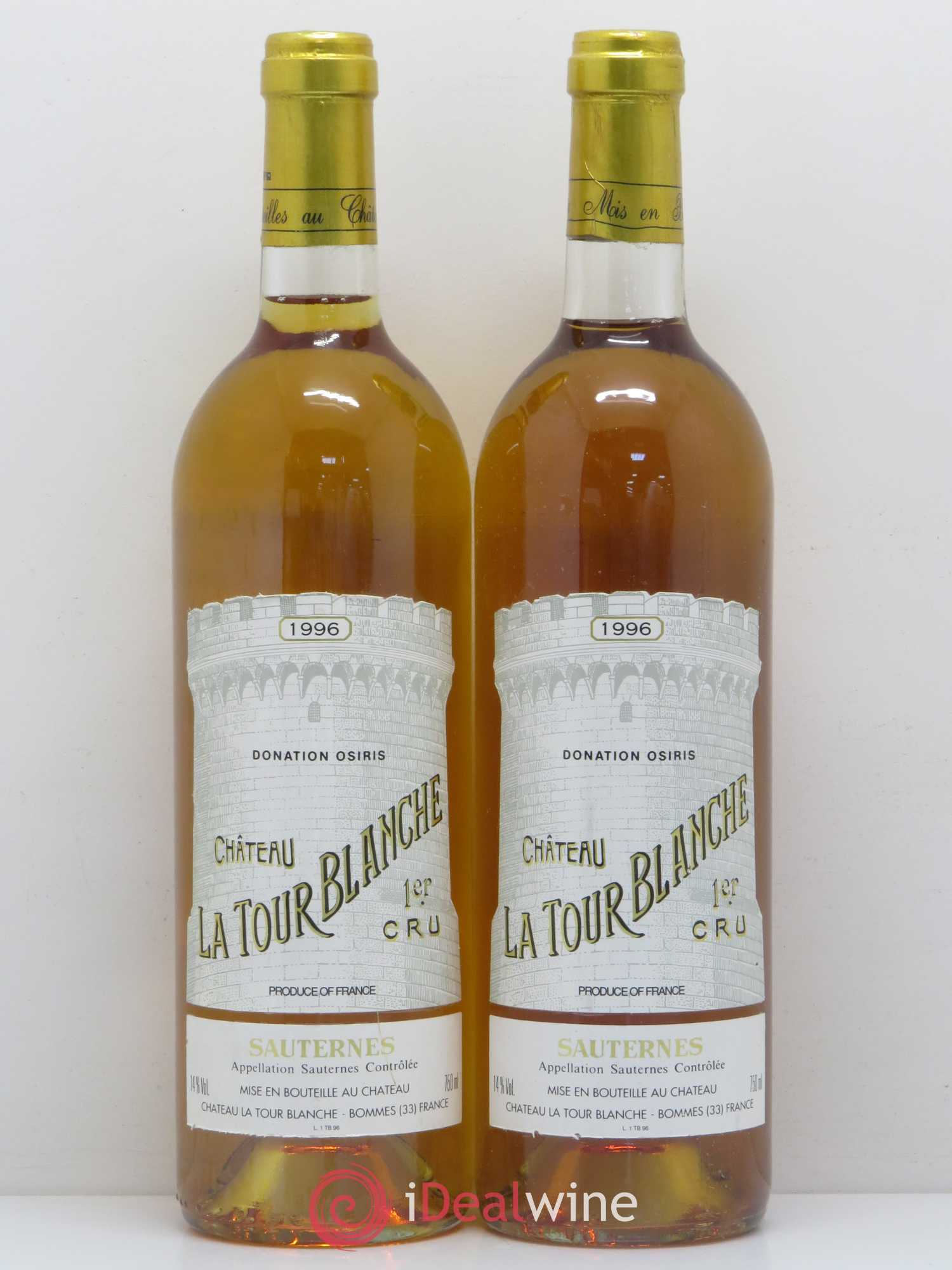 Château la Tour Blanche 1er Grand Cru Classé  1996 - Lot of 2 Bottles