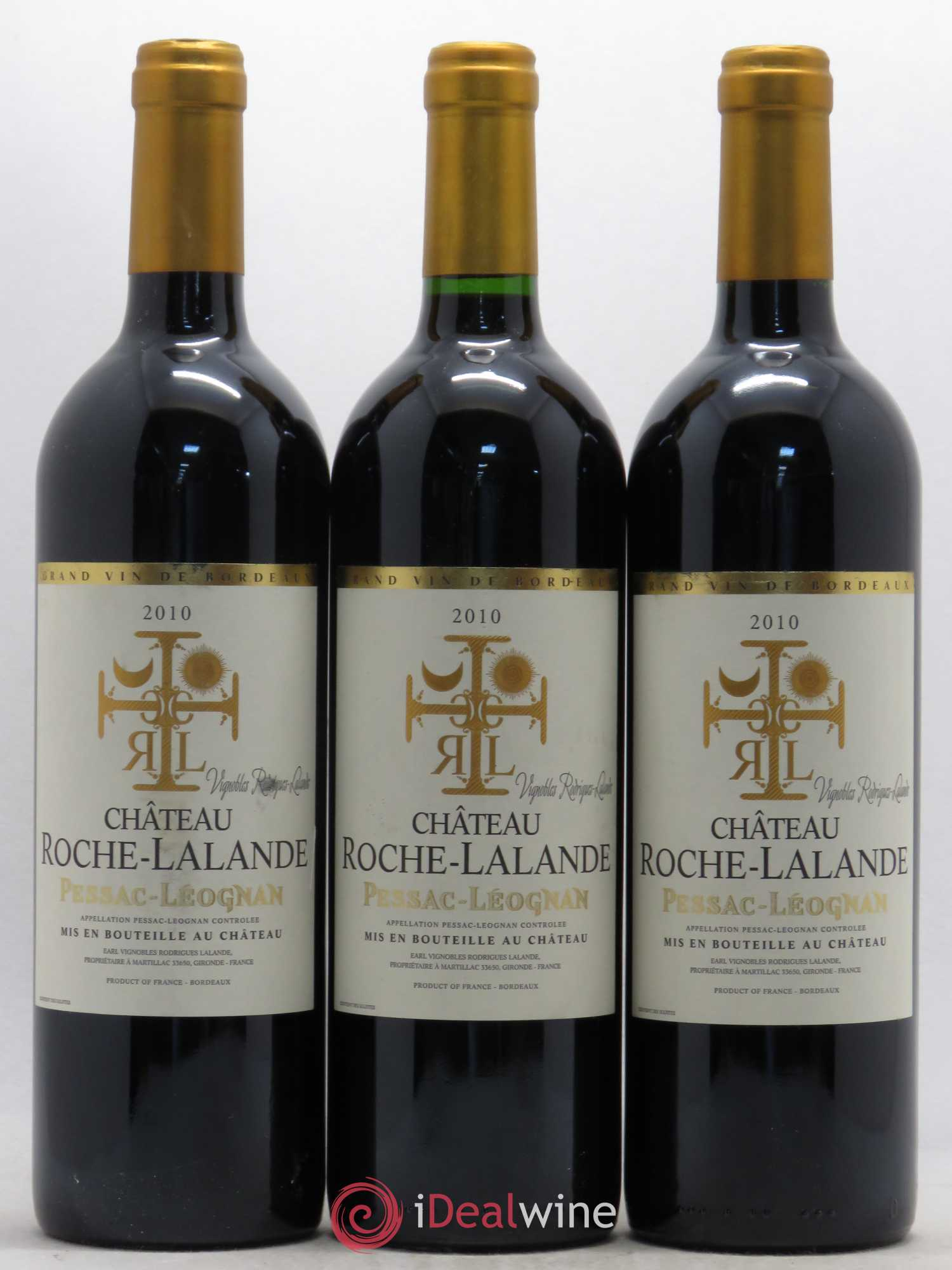 Pessac-Léognan Chateau Roche-Lalande 2010 - Lot of 3 Bottles