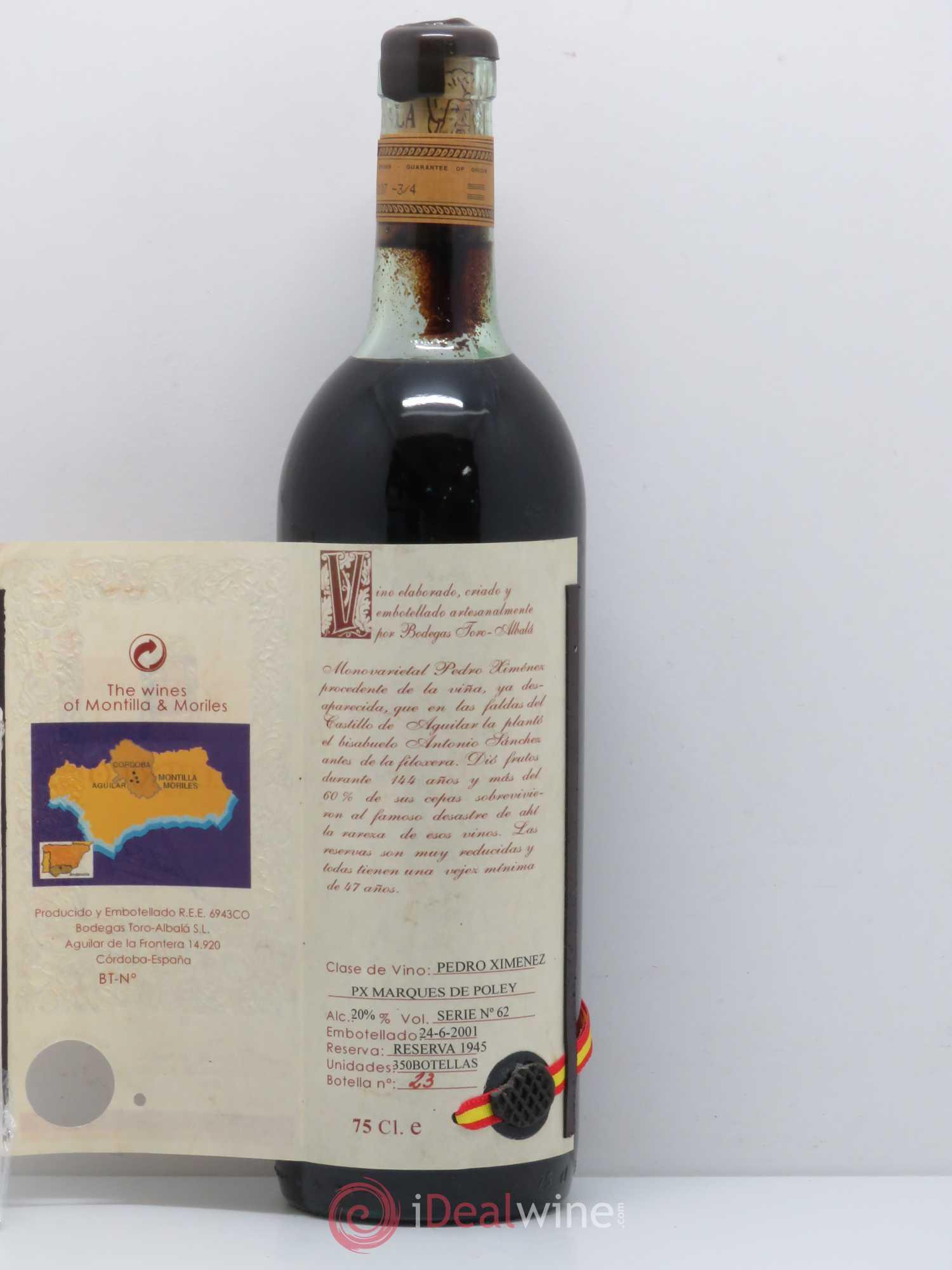Montilla Moriles Bodegas Toro Albala DON P X Marqués de Poley Reserva  Especial 1945