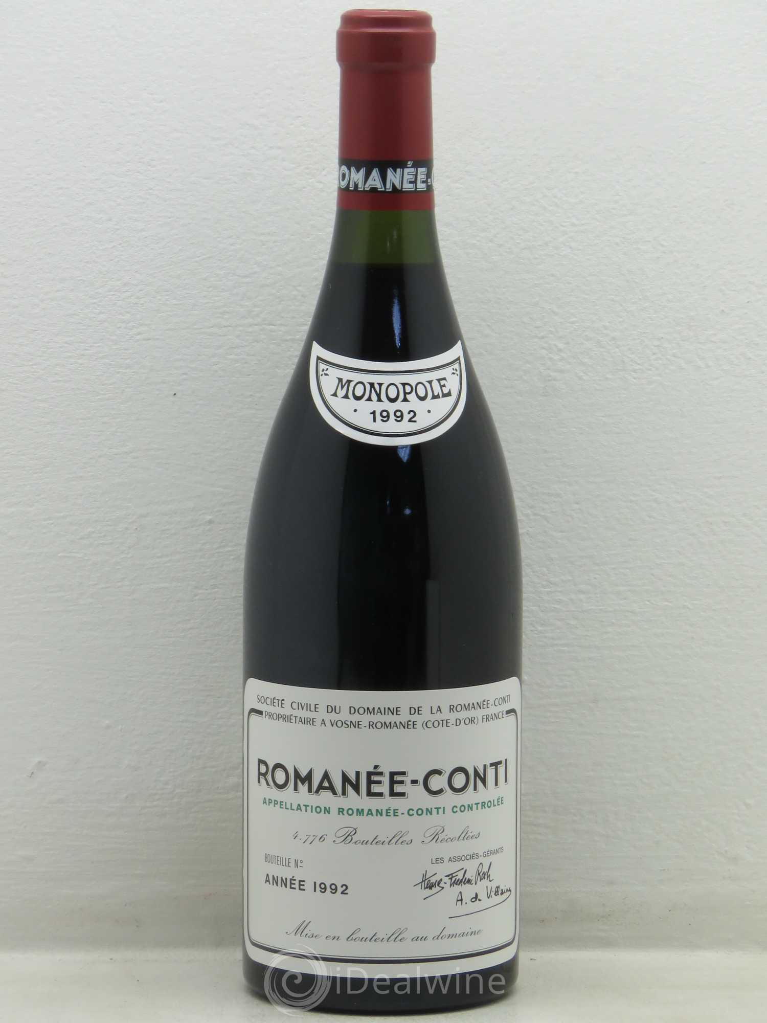 Romanée-Conti Grand Cru Domaine de la Romanée-Conti  1992 - Lot of 1 Bottle