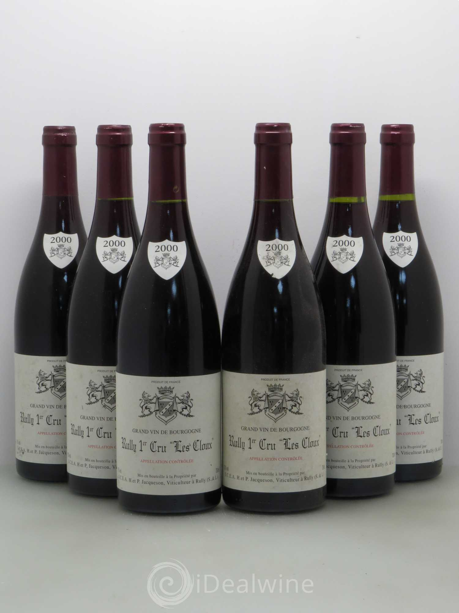 Rully 1er Cru Les Cloux Paul   Marie Jacqueson 2000 - Lot of 6 Bottles 25beabb2f4a4