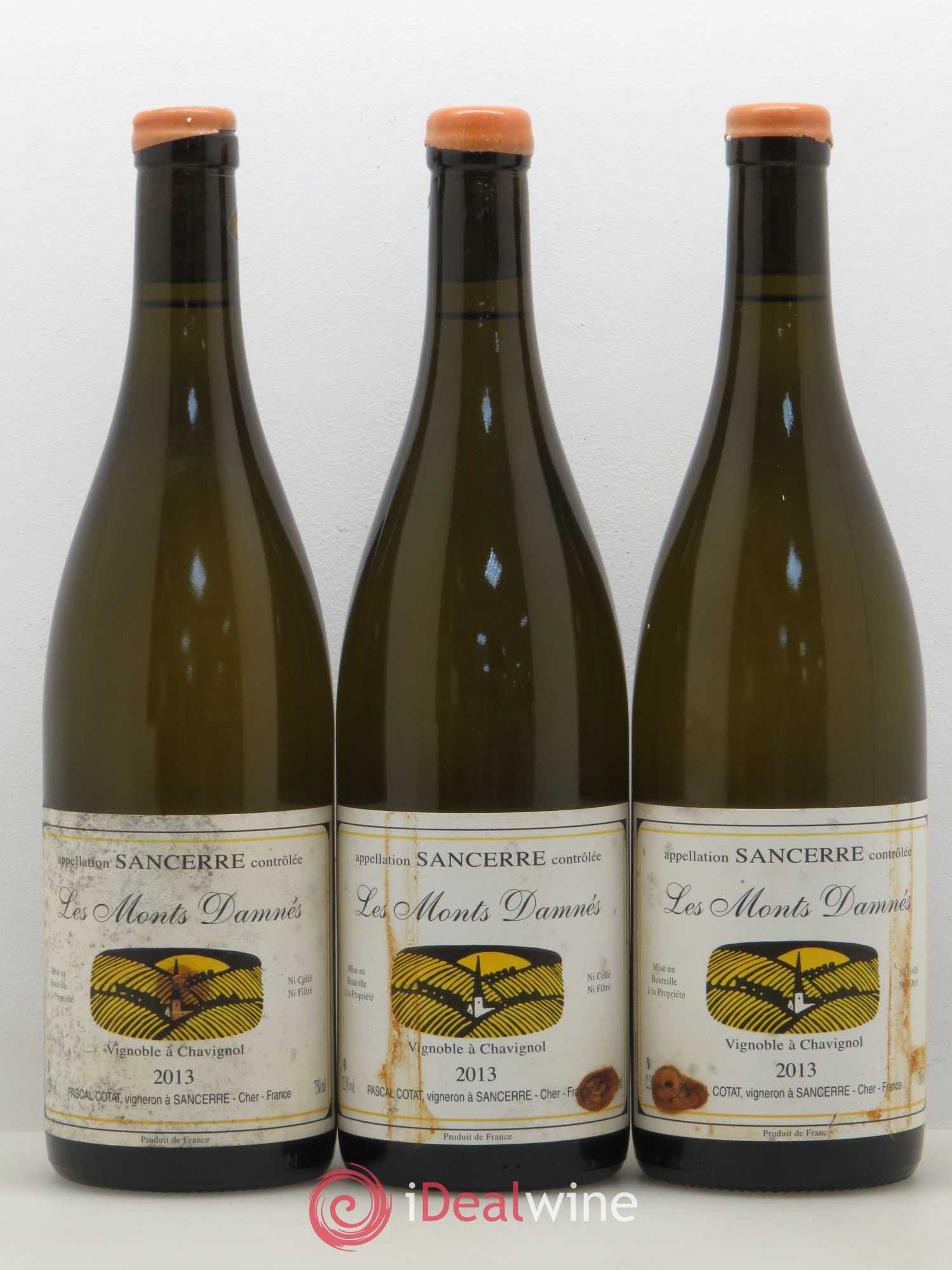 Sancerre Les Monts Damnés Pascal Cotat  2013 - Lot of 3 Bottles