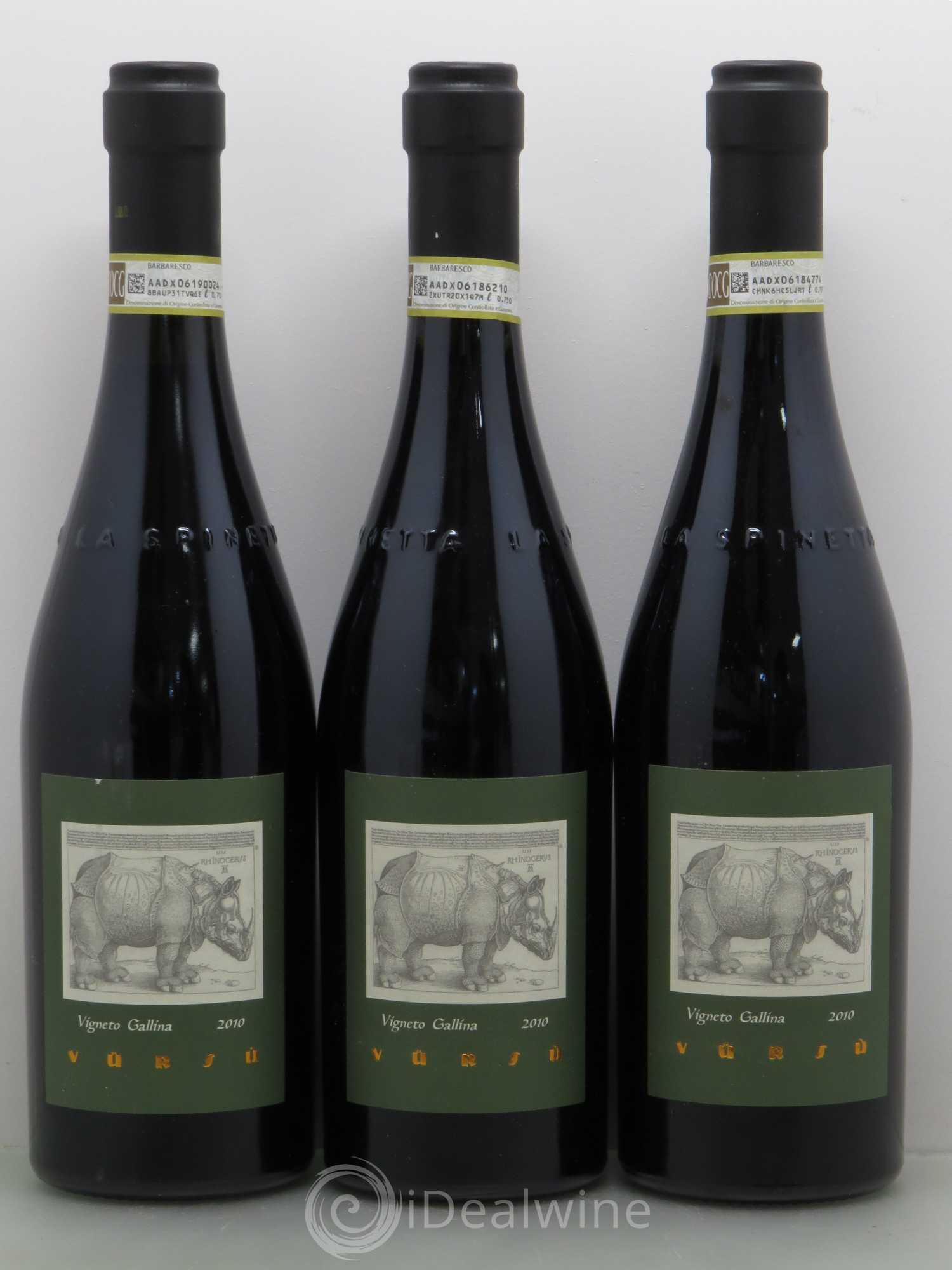 Barbaresco DOCG Vigneto Gallina 2010 - Lot de 3 Bouteilles