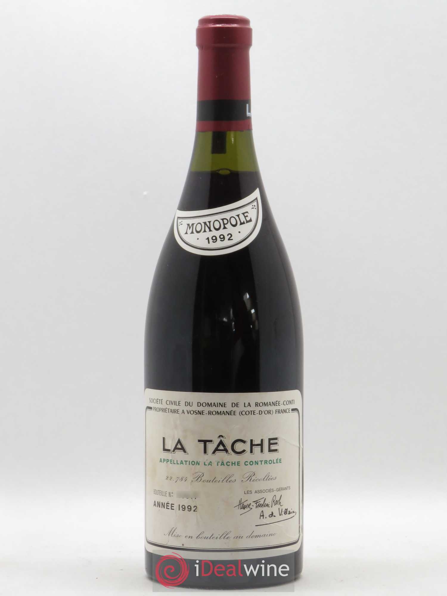 La Tâche Grand Cru Domaine de la Romanée-Conti  1992 - Lot of 1 Bottle