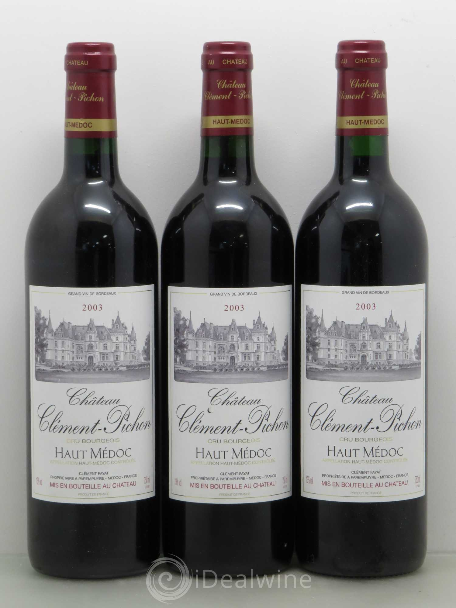 Buy ch teau cl ment pichon cru bourgeois 2003 lot 11664 for Buy chateaubriand
