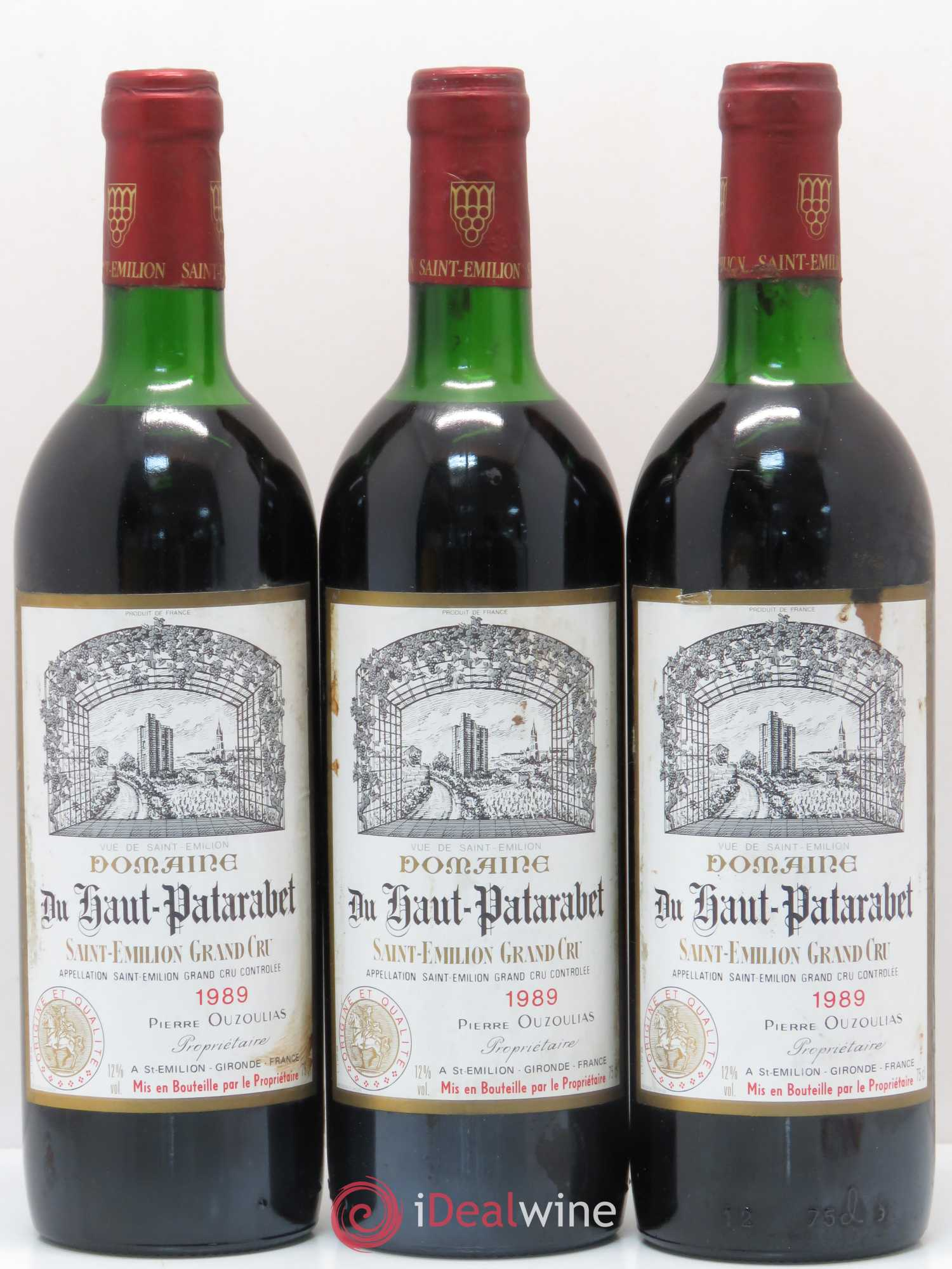 Saint-Émilion Grand Cru Domaine du Haut Patarabet (no reserve) 1989 - Lot of 3 Bottles