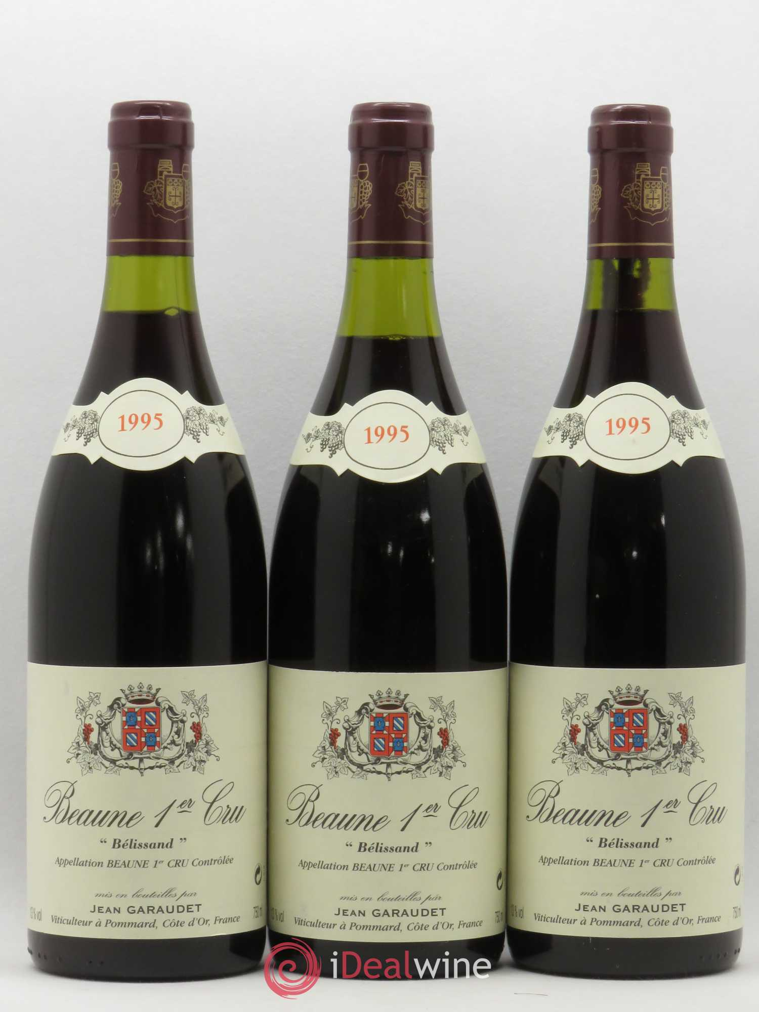 Beaune 1er Cru Belissand Domaine Jean Garaudet 1995 - Lot of 3 Bottles