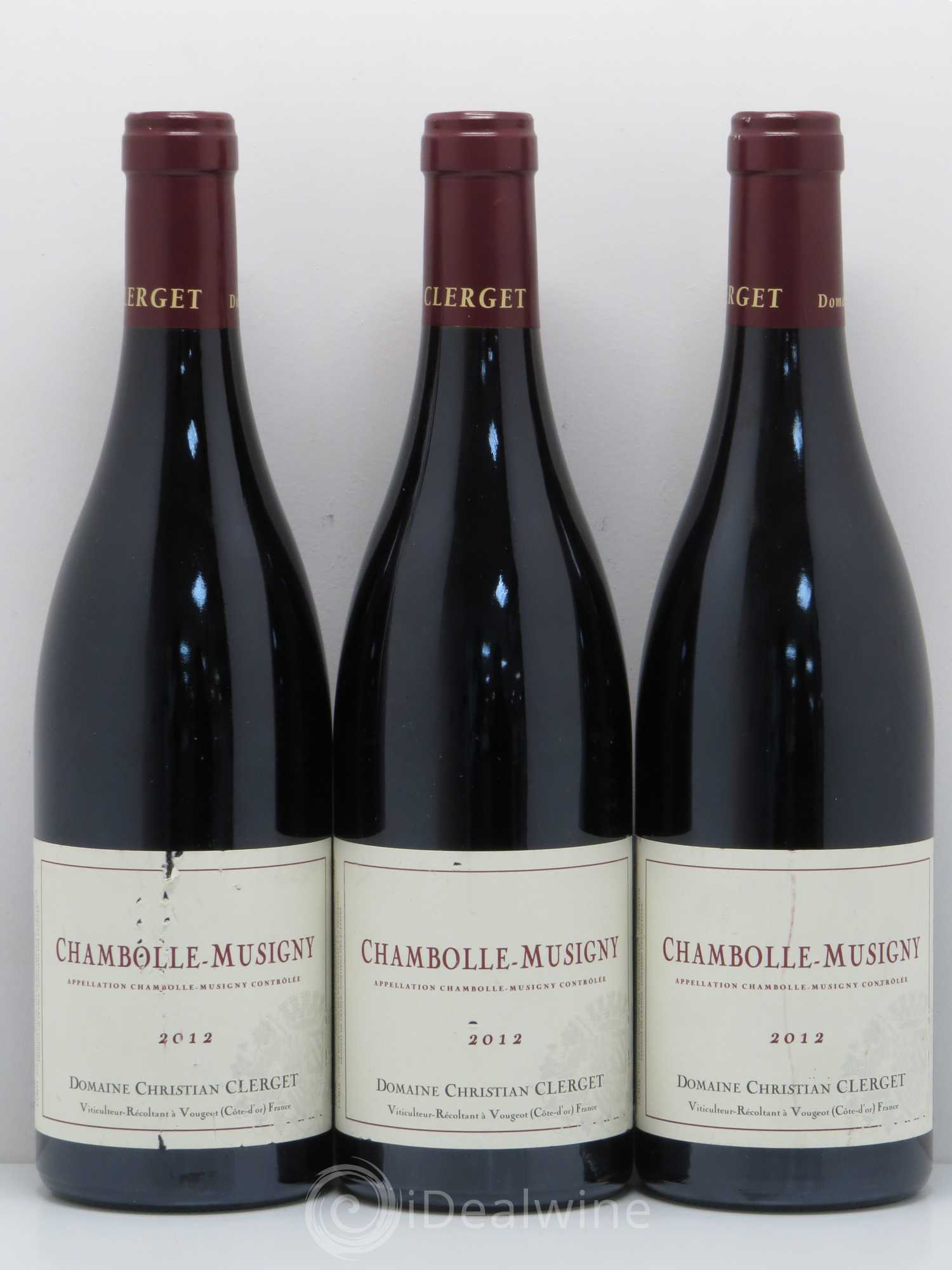 Chambolle-Musigny Christian Clerget  2012 - Lot de 3 Bouteilles