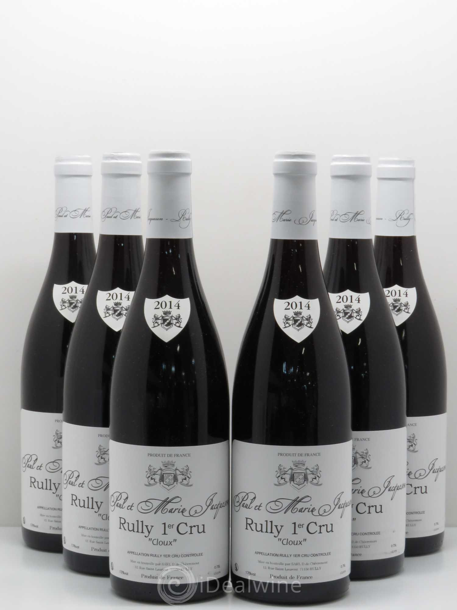 Rully 1er Cru Les Cloux Paul   Marie Jacqueson 2014 - Lot of 6 Bottles 1889ae05f83a