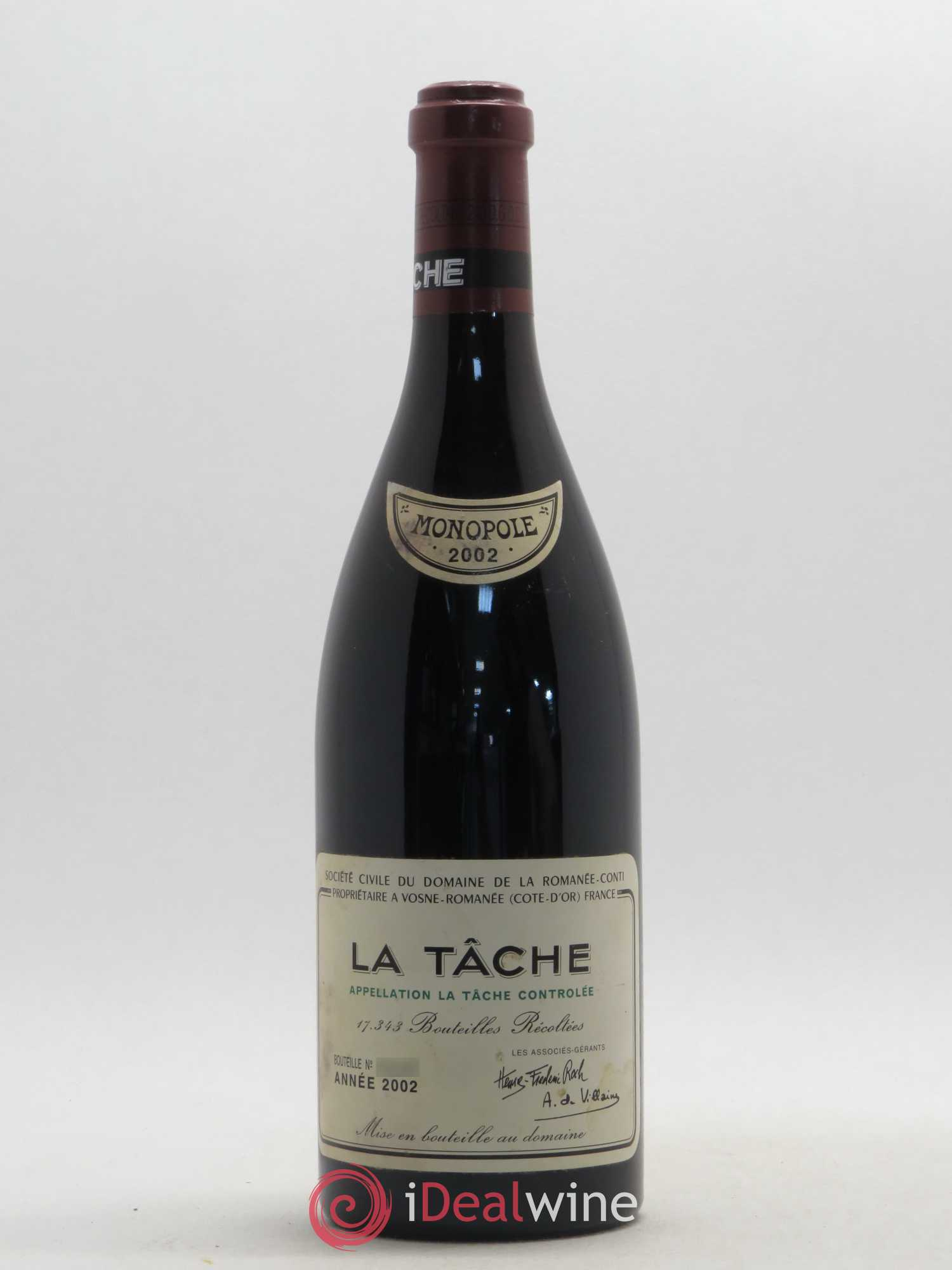 La Tâche Grand Cru Domaine de la Romanée-Conti  2002 - Lot of 1 Bottle
