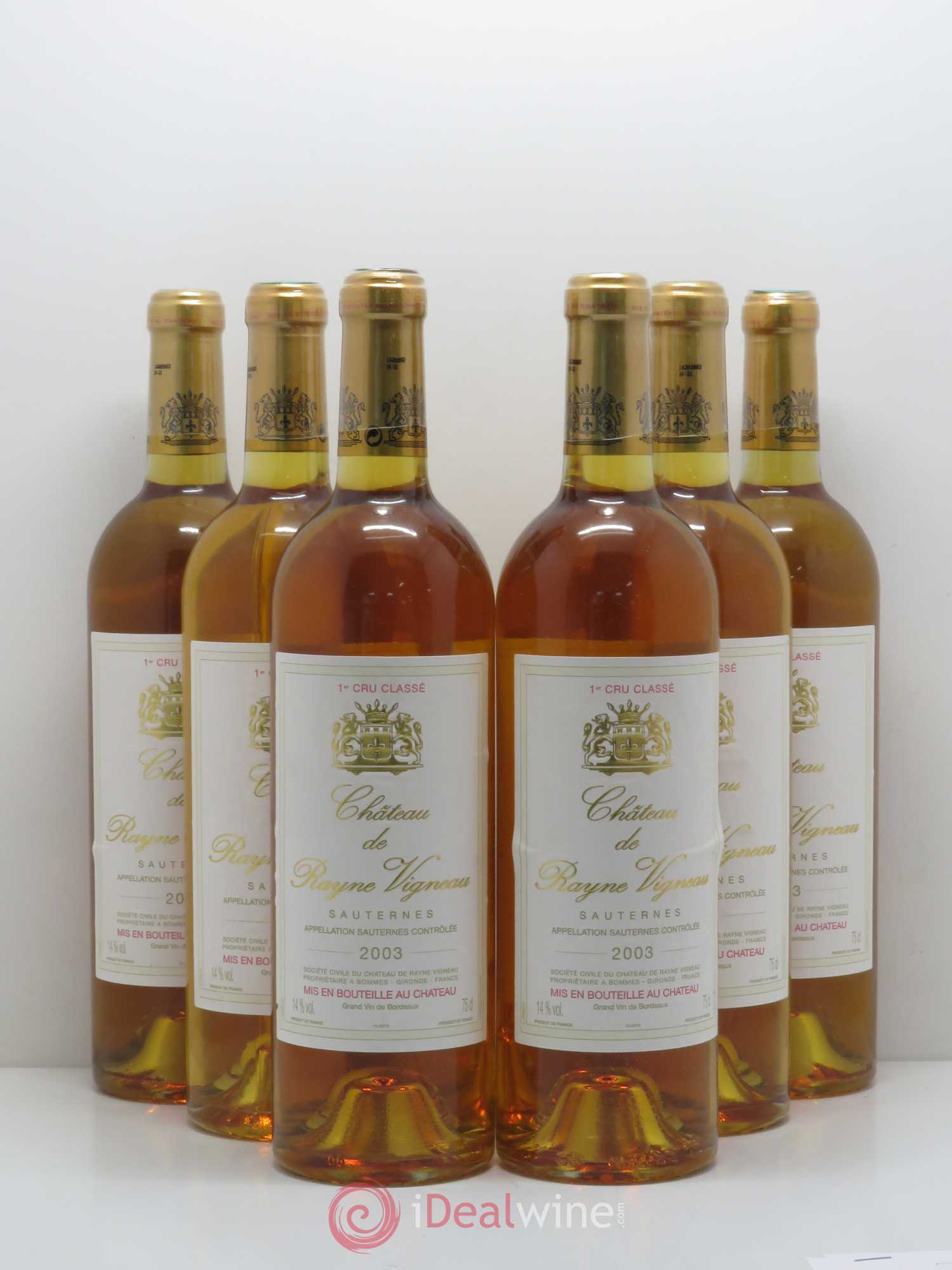 Château de Rayne Vigneau 1er Grand Cru Classé  2003 - Lot of 6 Bottles