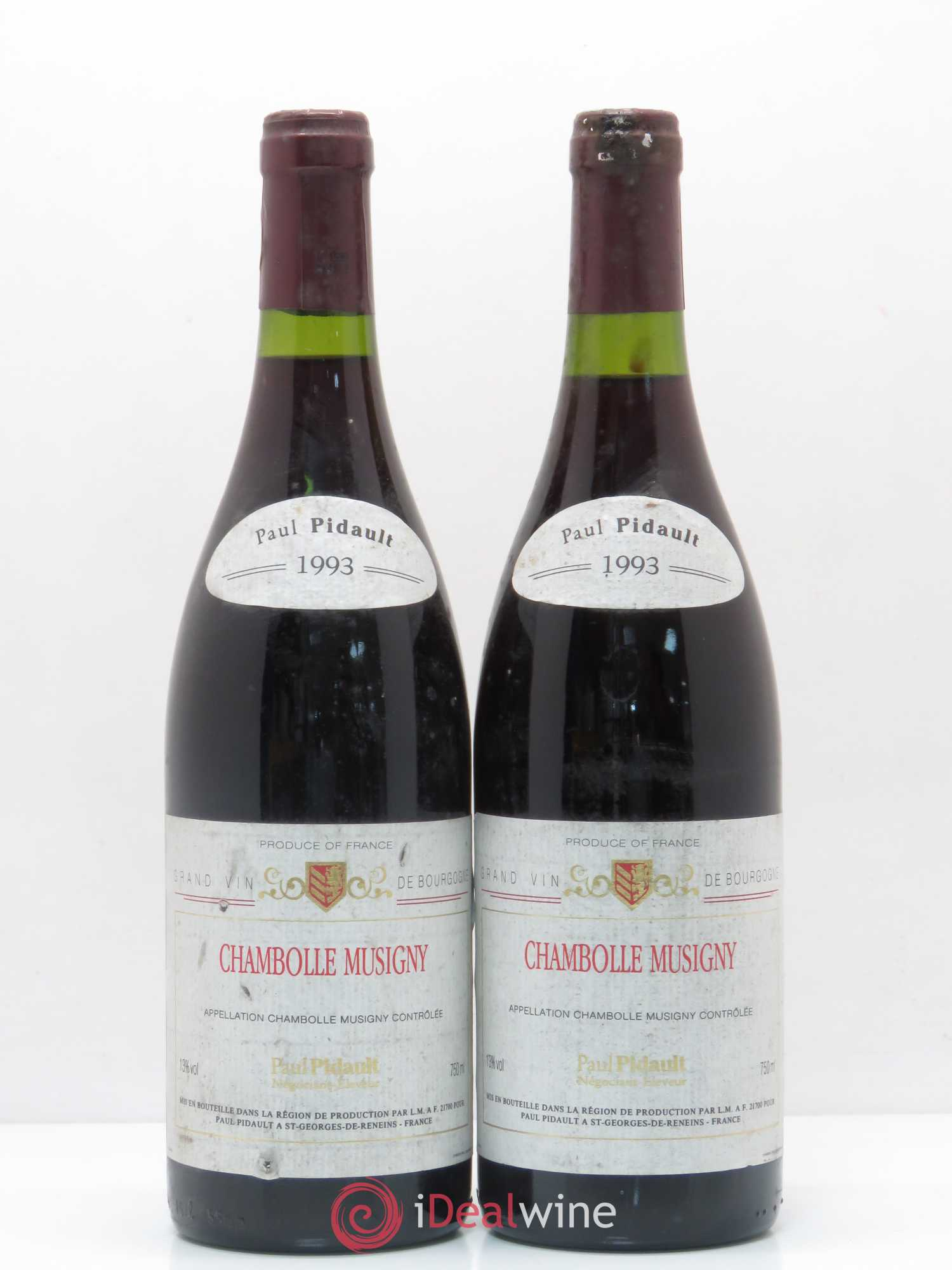Chambolle-Musigny P. Pidault 1993 - Lot de 2 Bouteilles
