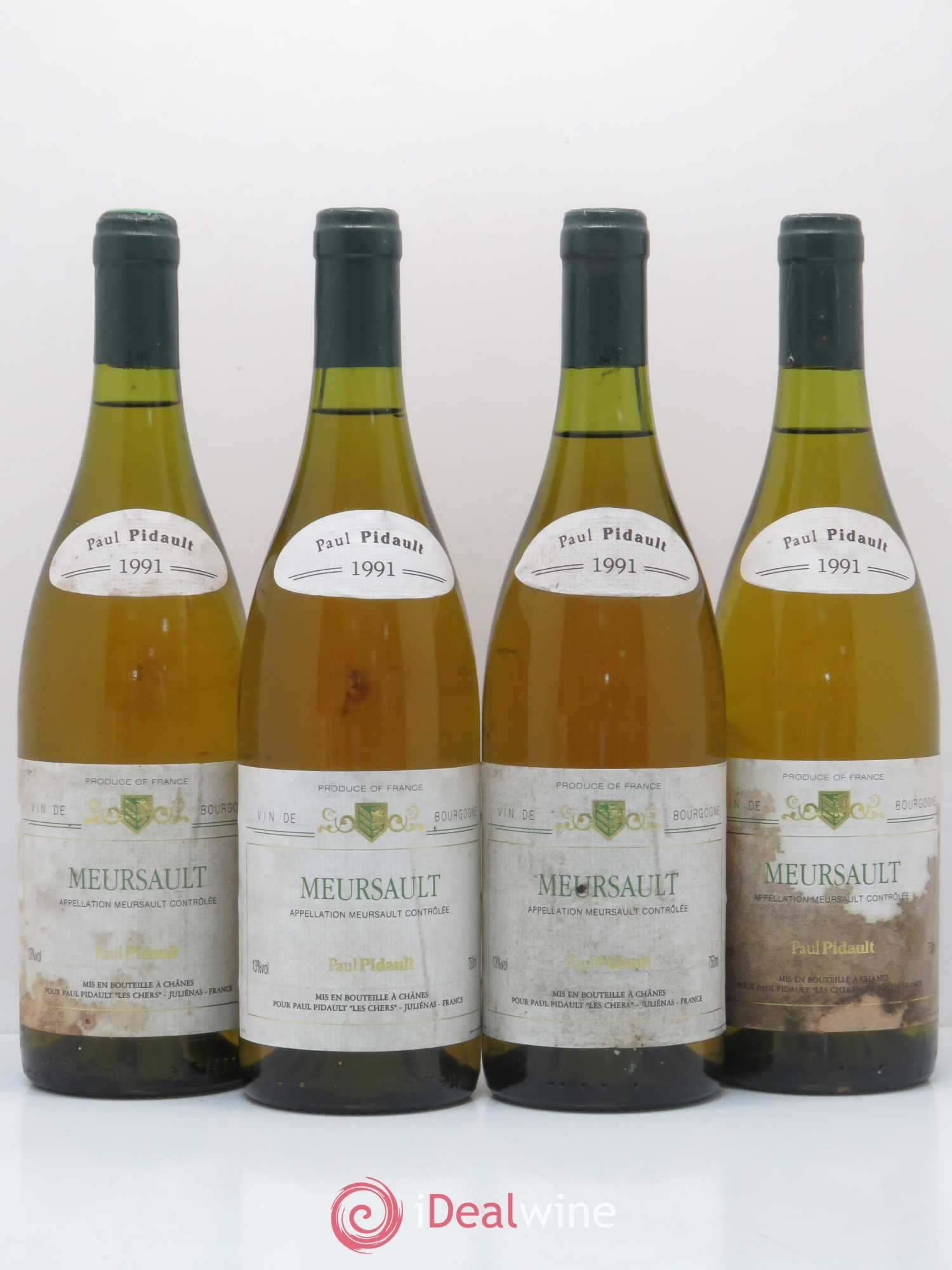 Meursault P. Pidault 1991 - Lot of 4 Bottles