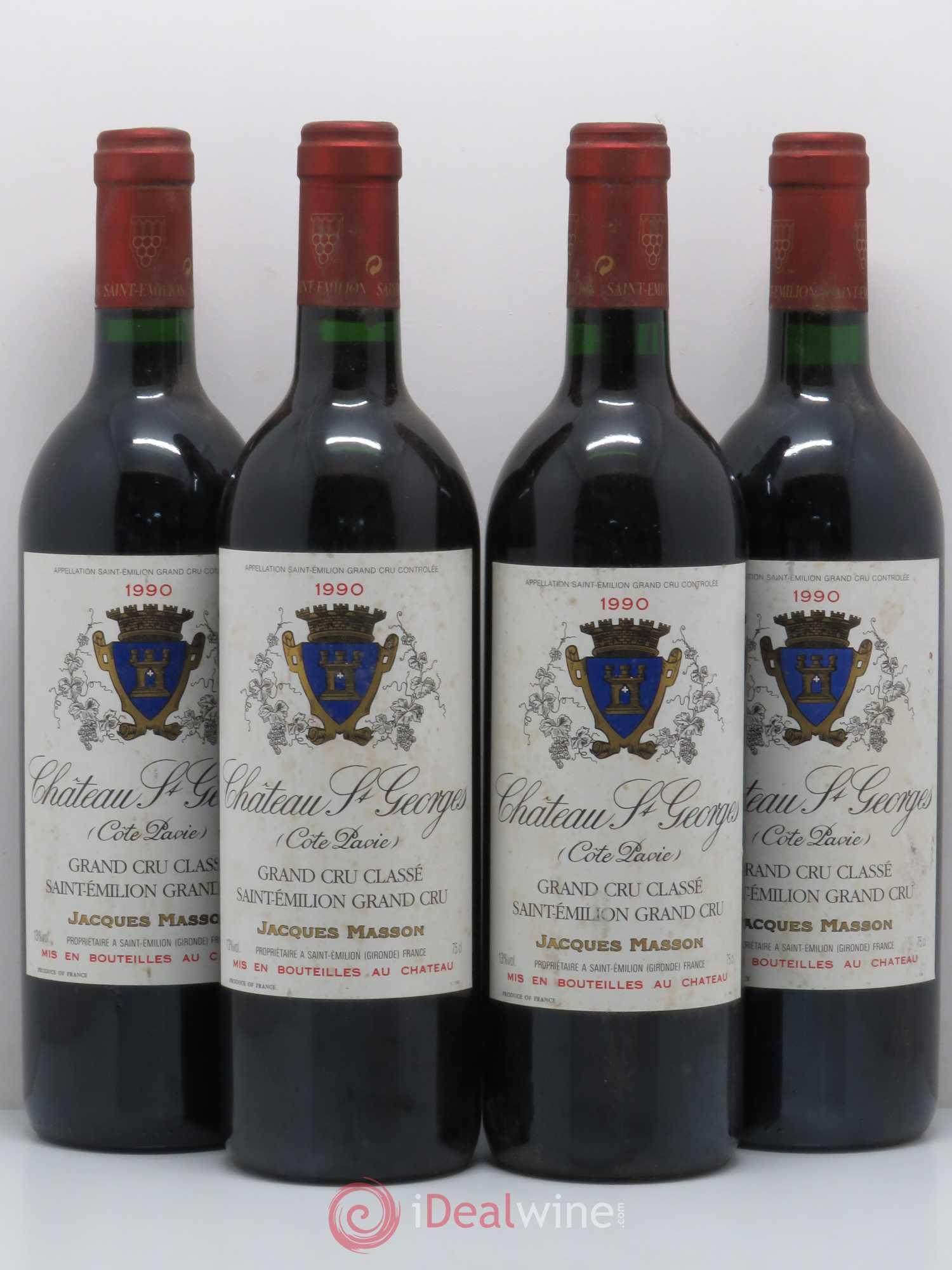 b6027bdded4 Château Saint-Georges Côte Pavie Grand Cru Classé 1990 - Lot of 4 Bottles