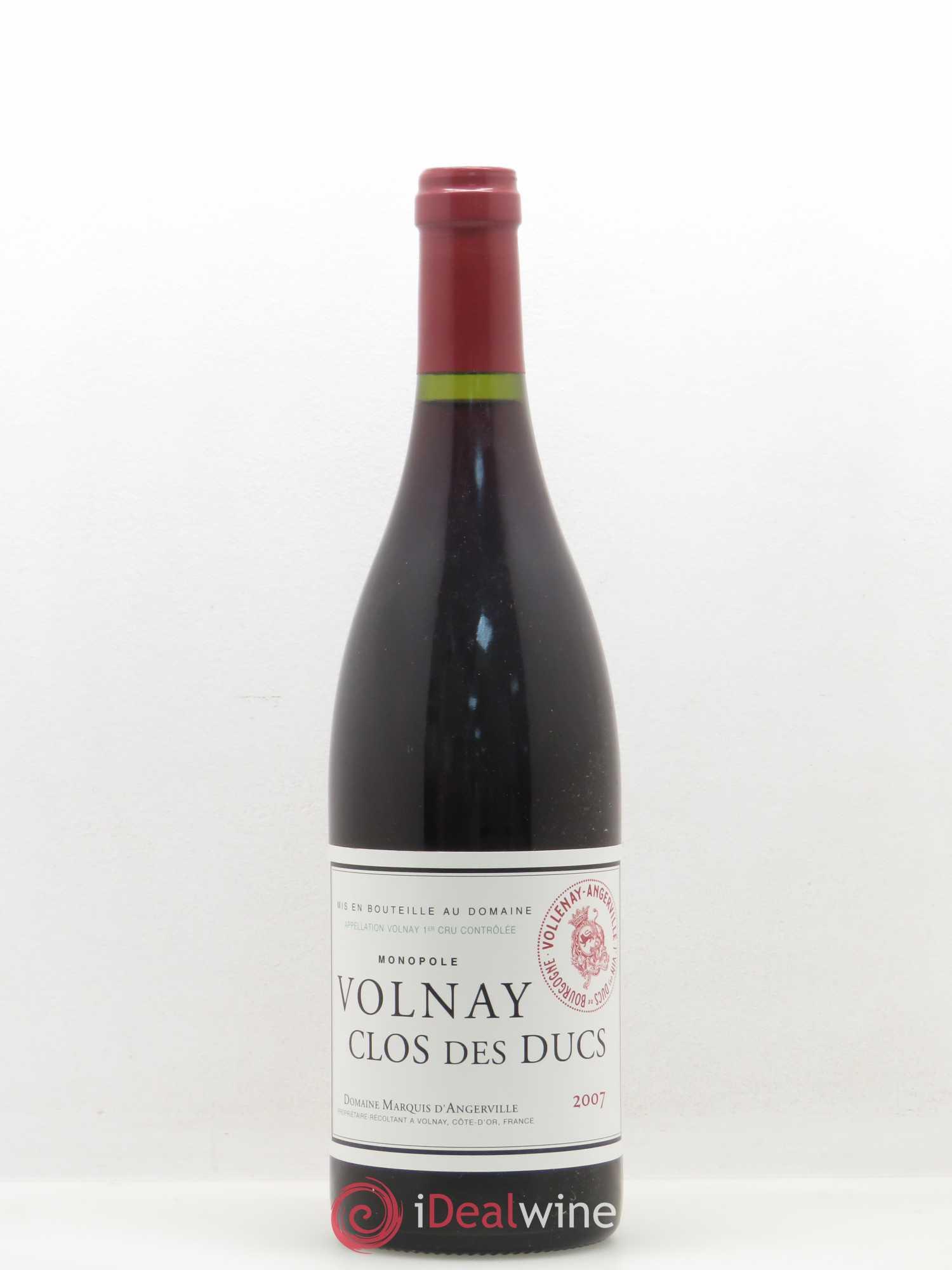 Buy Volnay 1er Cru Clos Des Ducs Marquis D Angerville Domaine 2007 Lot 3207