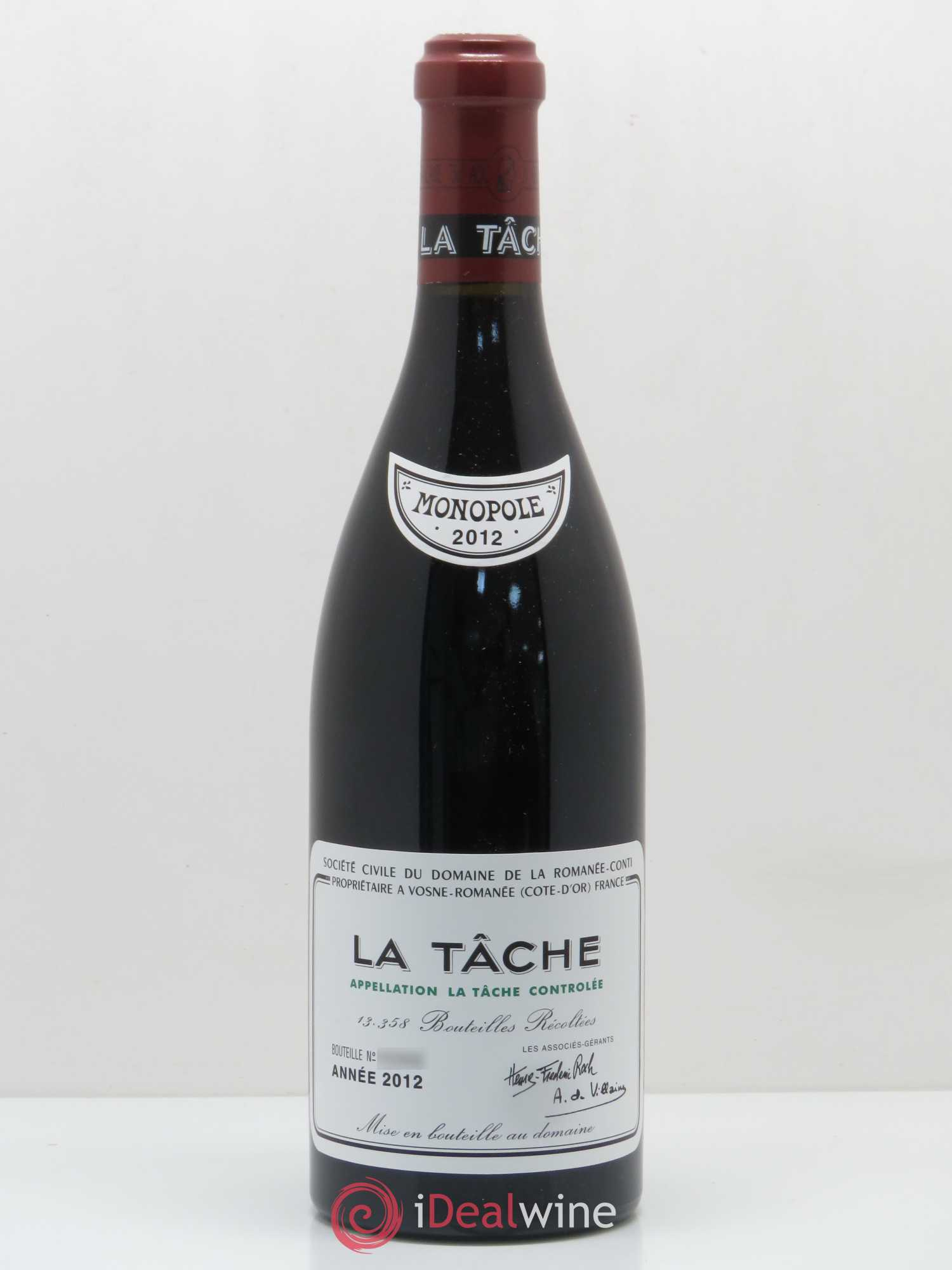 La Tâche Grand Cru Domaine de la Romanée-Conti  2012 - Lot of 1 Bottle