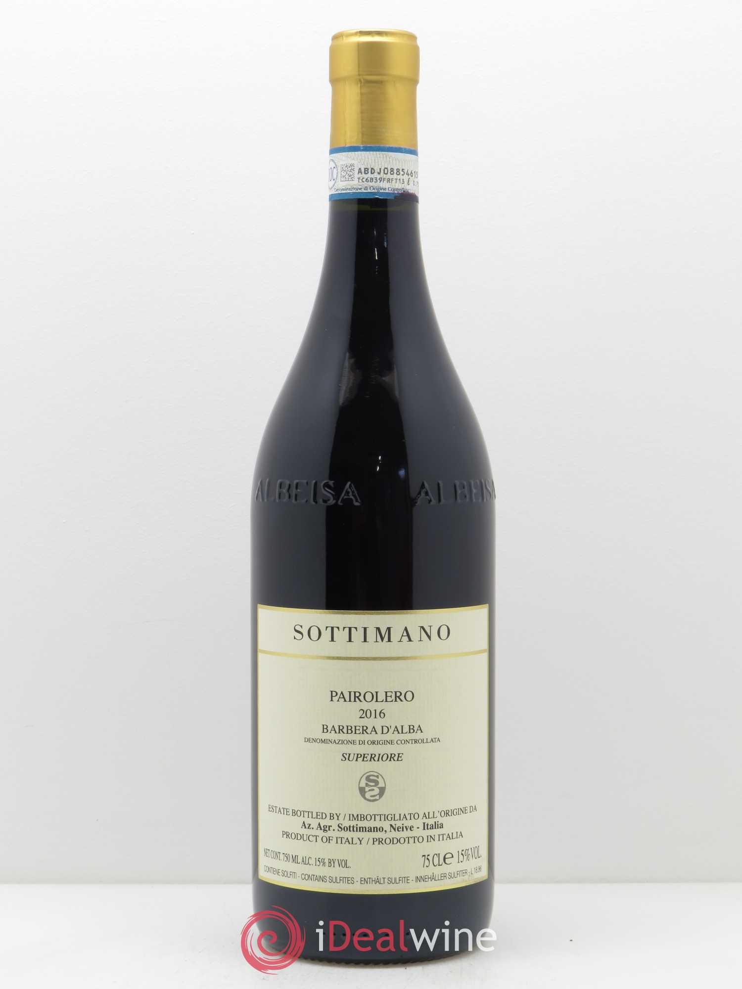 Barbera d'Alba Pairolero Sottimano  2016 - Lot of 1 Bottle