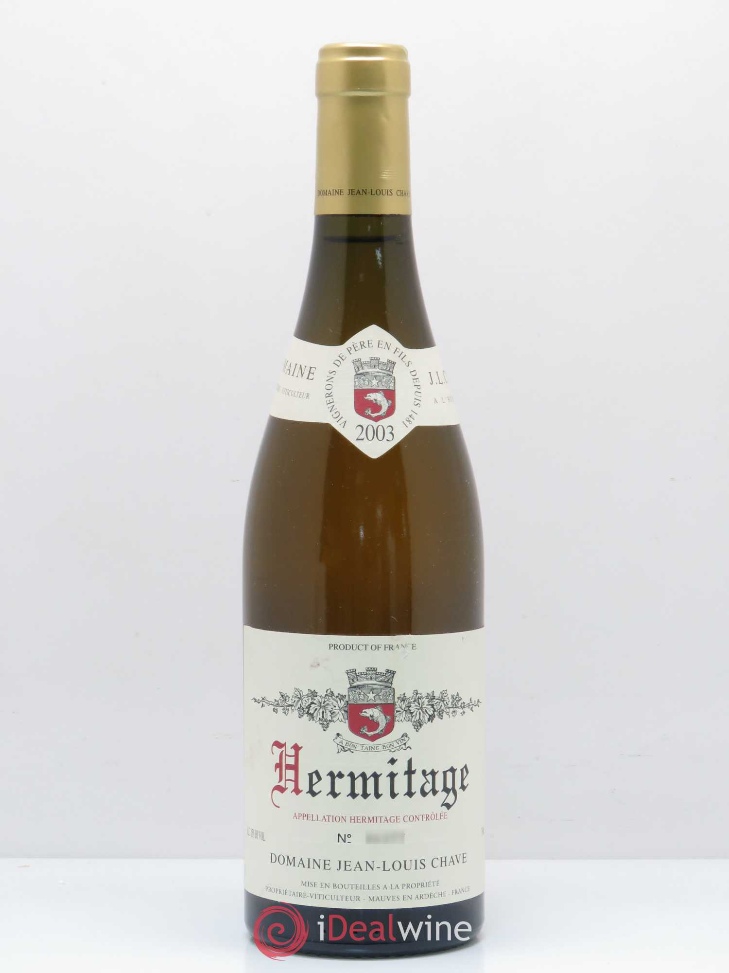 Hermitage Jean-Louis Chave  2003 - Lot of 1 Bottle