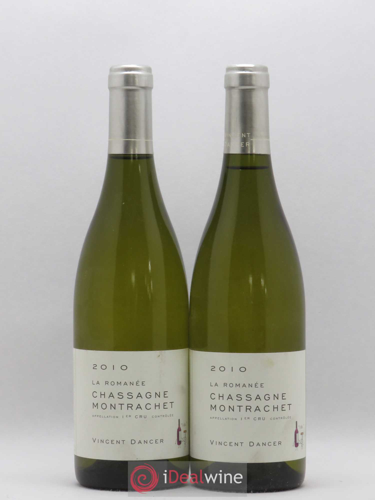 Chassagne-Montrachet 1er Cru La Romanée Vincent Dancer  2010 - Lot of 2 Bottles