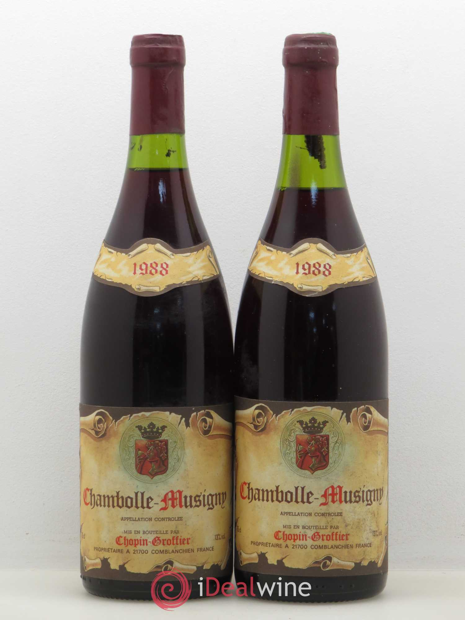 Chambolle-Musigny Chopin Groffier 1988 - Lot of 2 Bottles