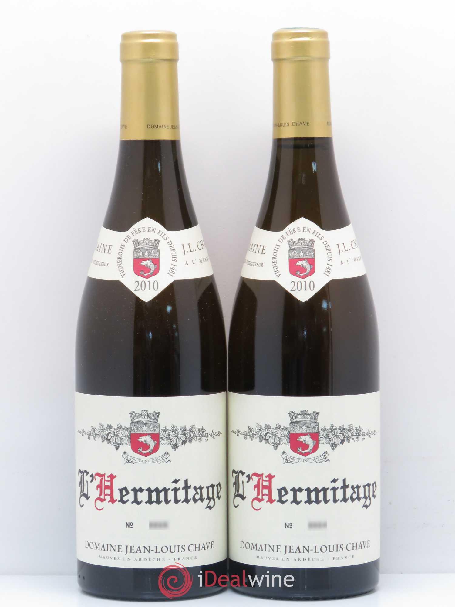 Hermitage Jean-Louis Chave  2010 - Lot of 2 Bottles