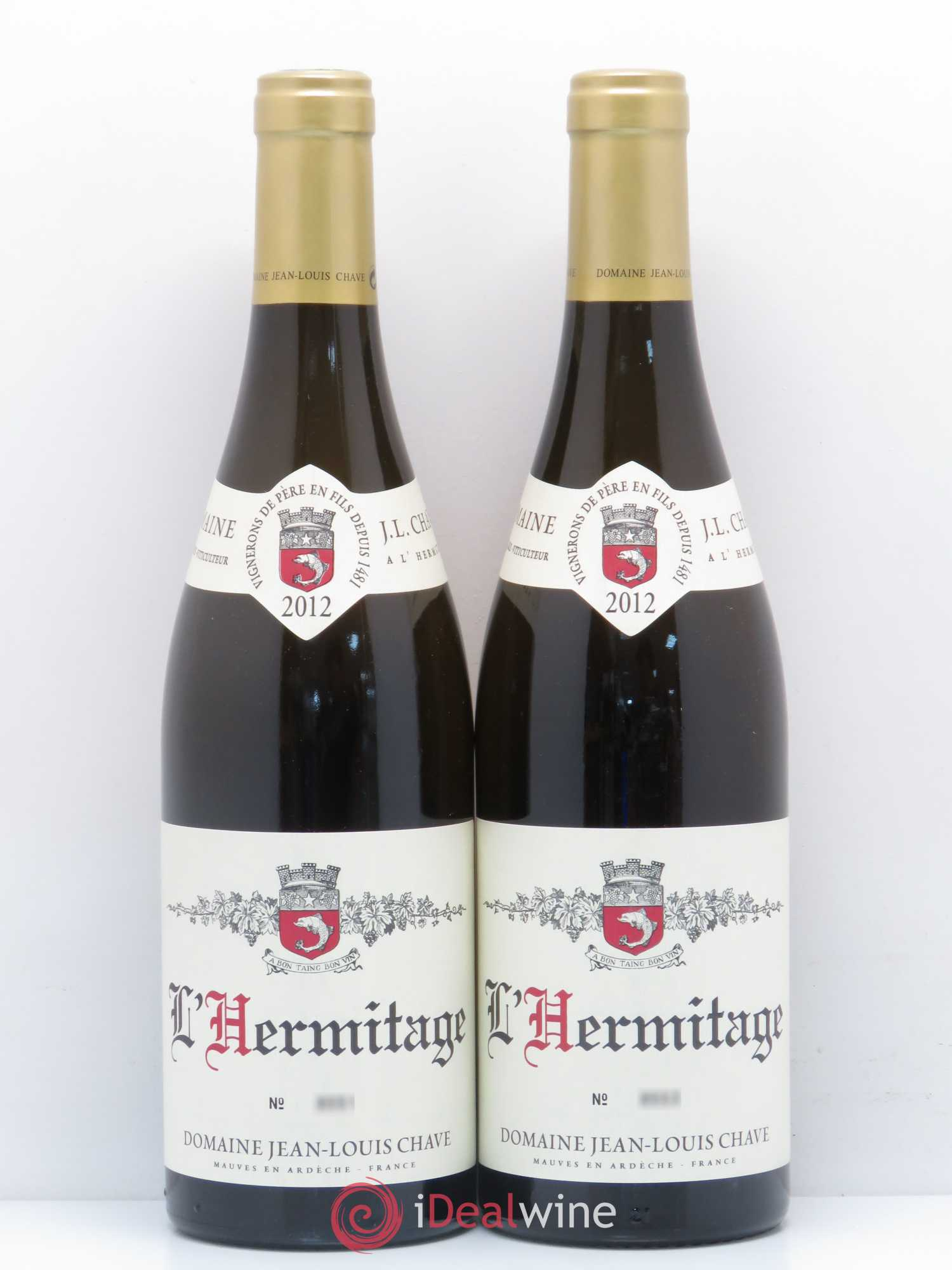 Hermitage Jean-Louis Chave  2012 - Lot of 2 Bottles