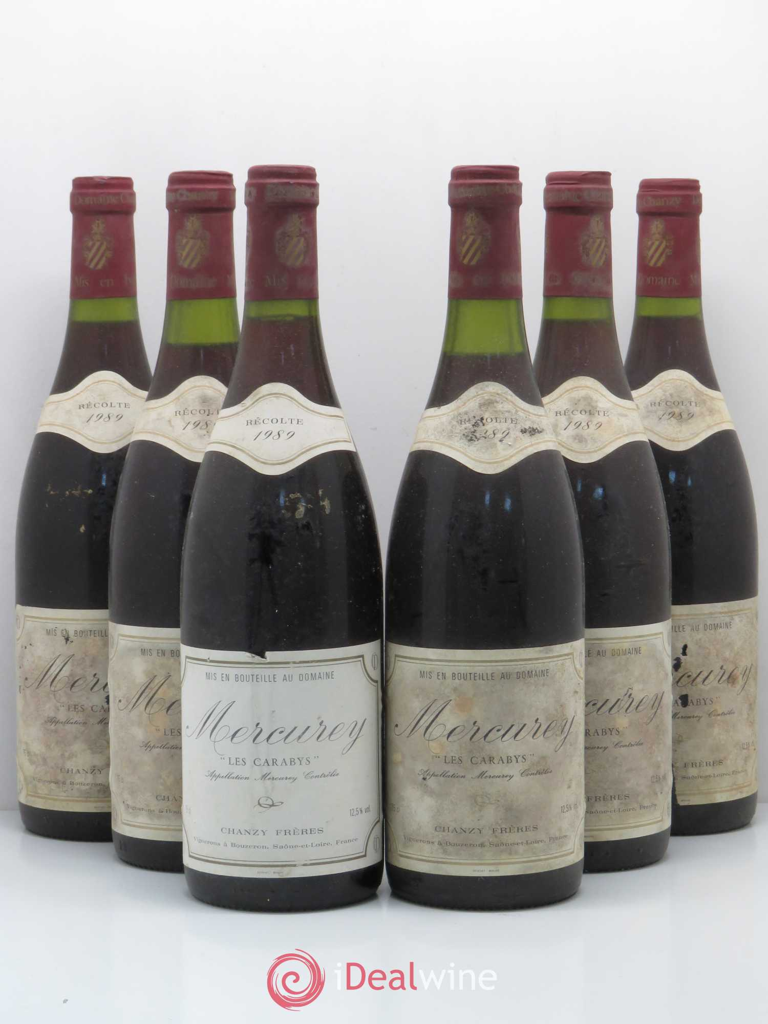 Mercurey Les Carabys Chanzy Frères (no reserve) 1989 - Lot of 6 Bottles