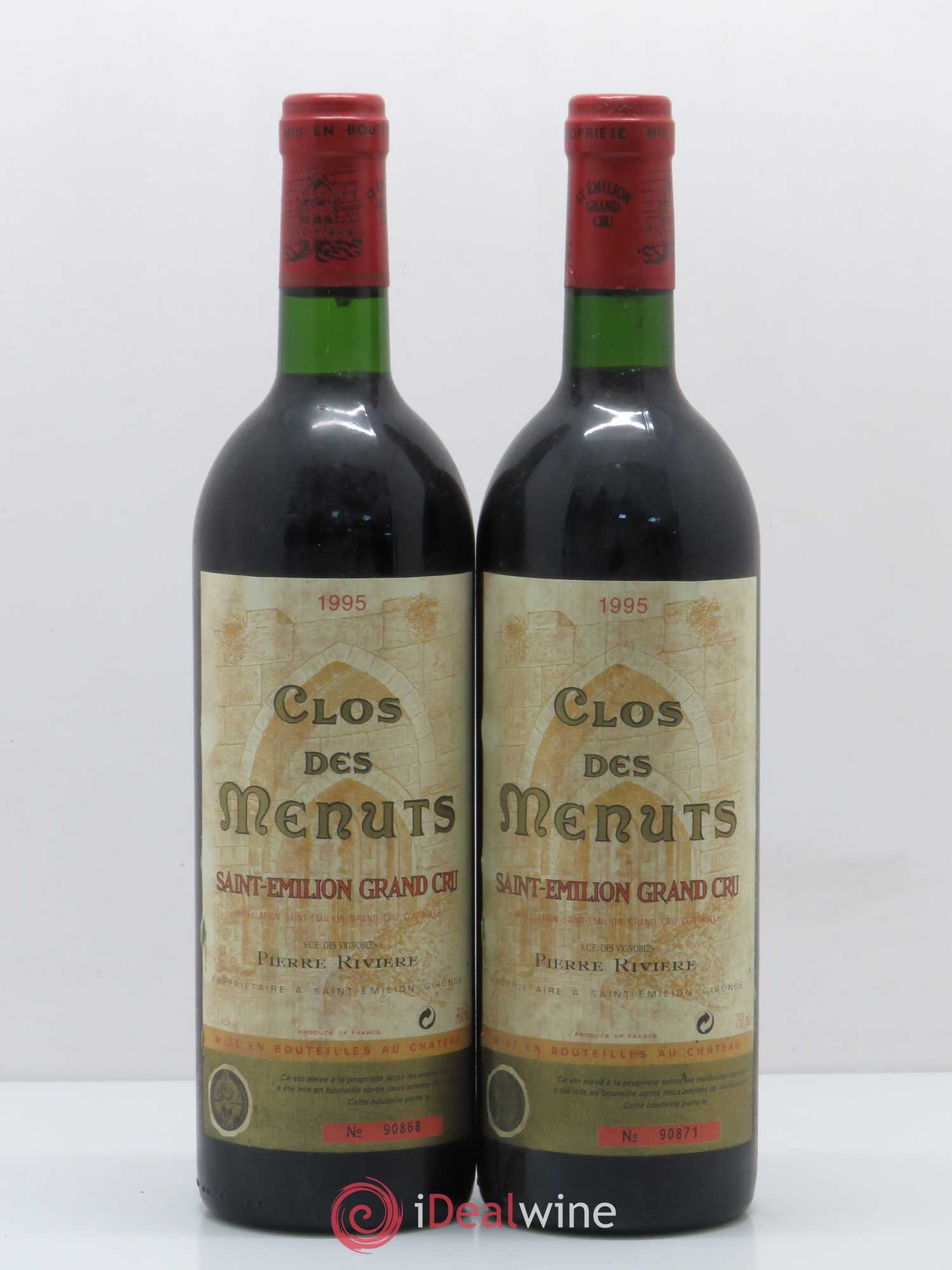 Saint-Émilion Grand Cru Clos des Menuts (no reserve) 1995 - Lot of 2 Bottles