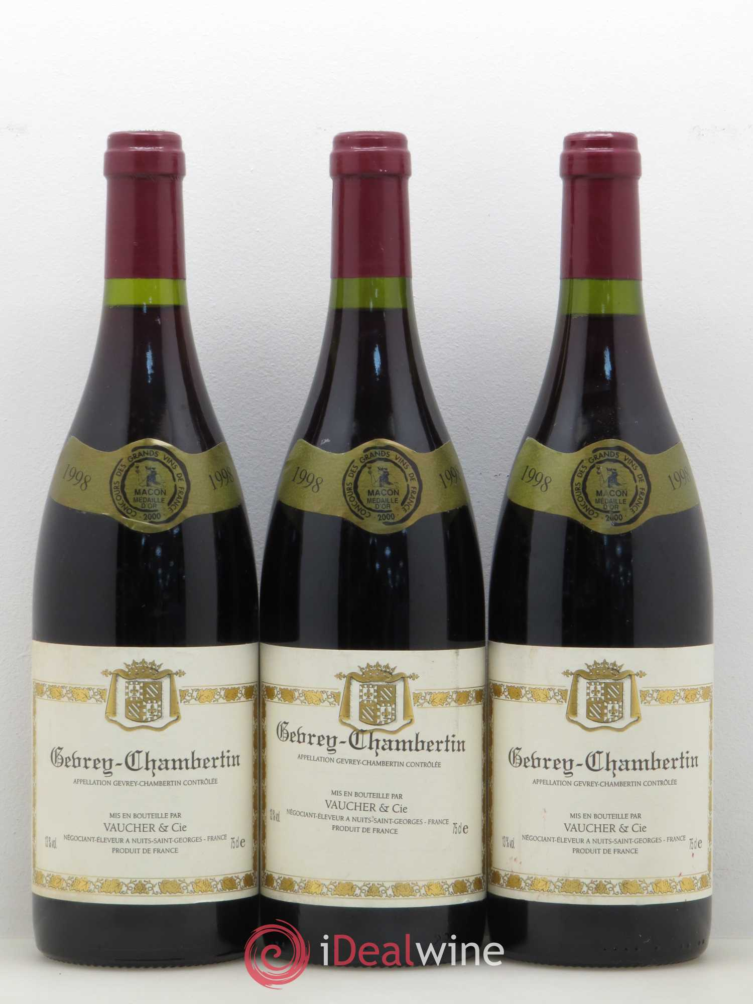 Gevrey-Chambertin Domaine Vaucher 1998 - Lot of 3 Bottles