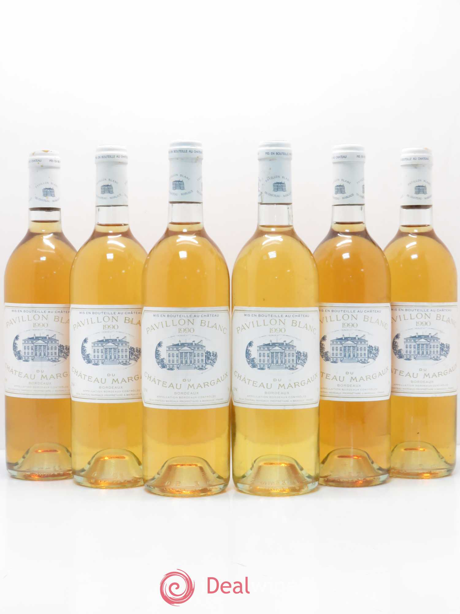 Pavillon Blanc du Château Margaux  1990 - Lot of 6 Bottles
