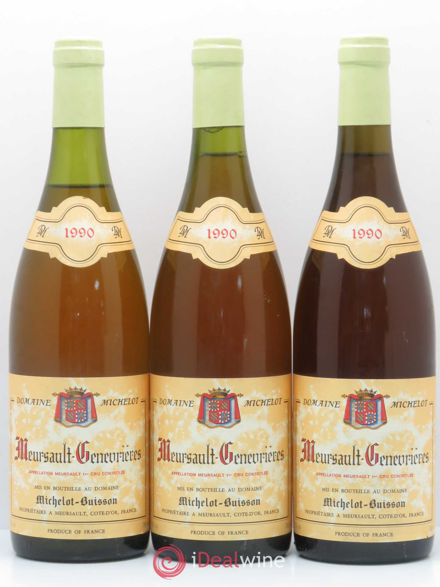 Meursault 1er Cru Genevrières Michelot-Buisson 1990 - Lot of 3 Bottles