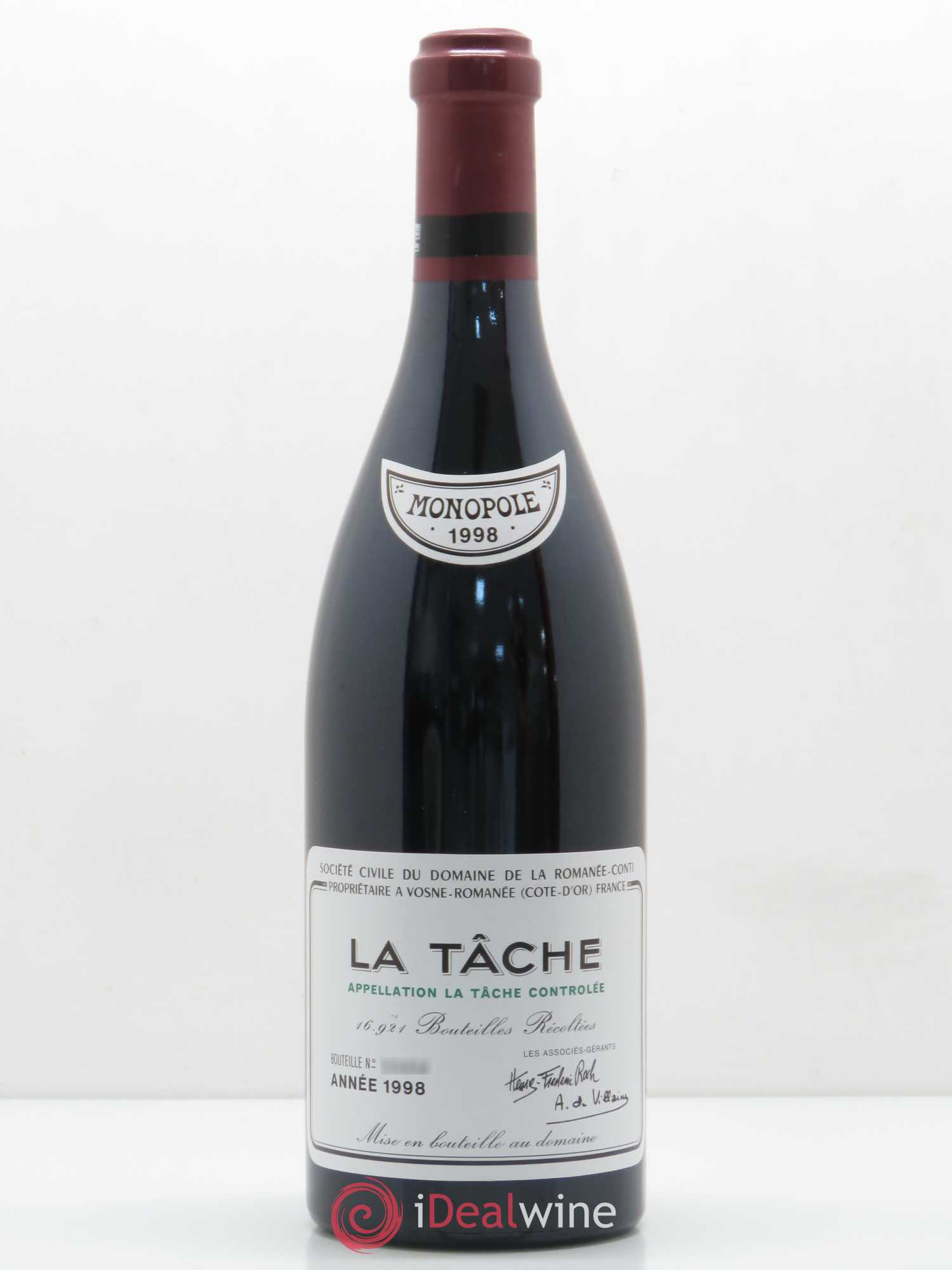 La Tâche Grand Cru Domaine de la Romanée-Conti  1998 - Lot of 1 Bottle