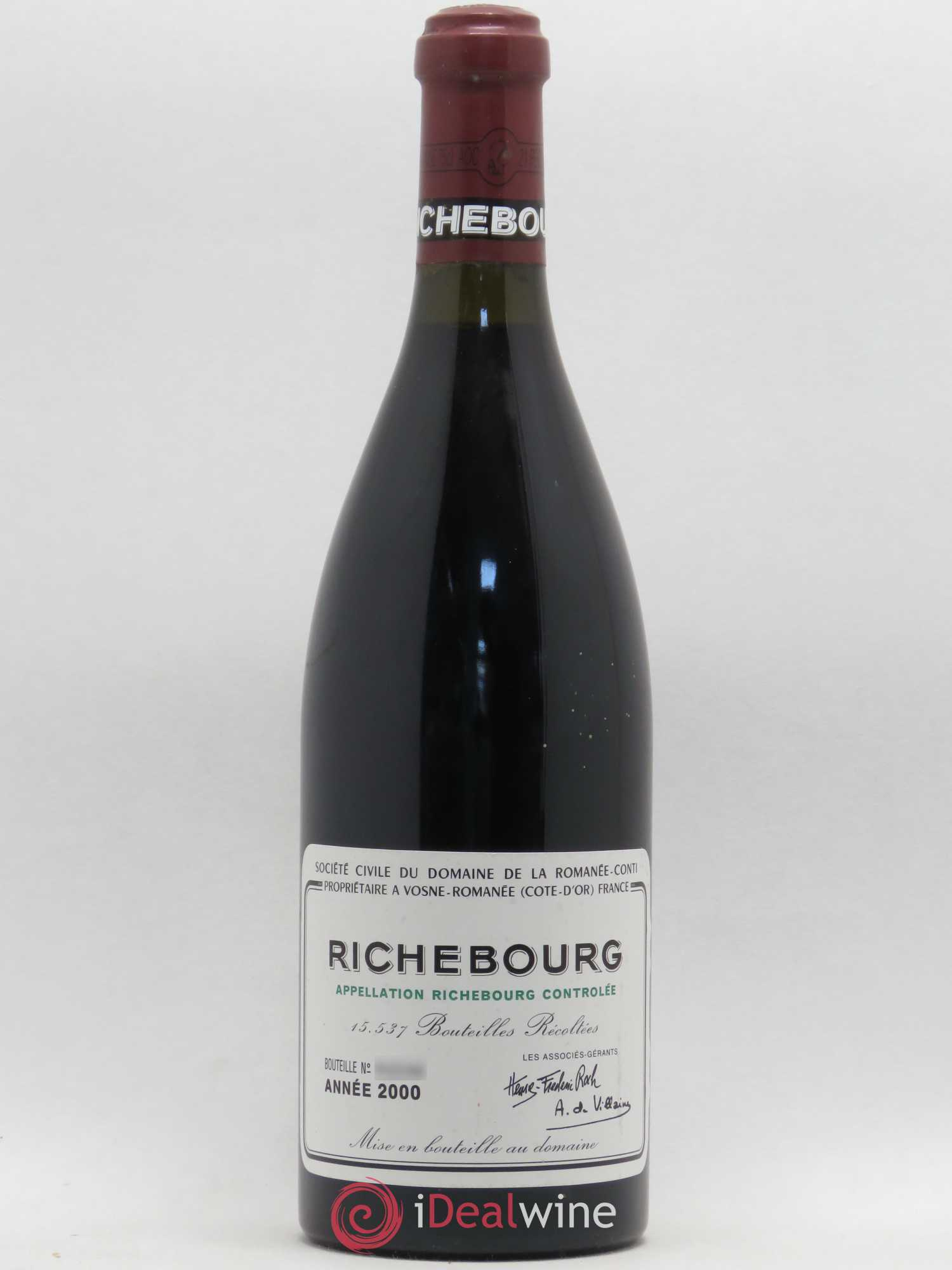 Richebourg Grand Cru Domaine de la Romanée-Conti  2000 - Lot of 1 Bottle