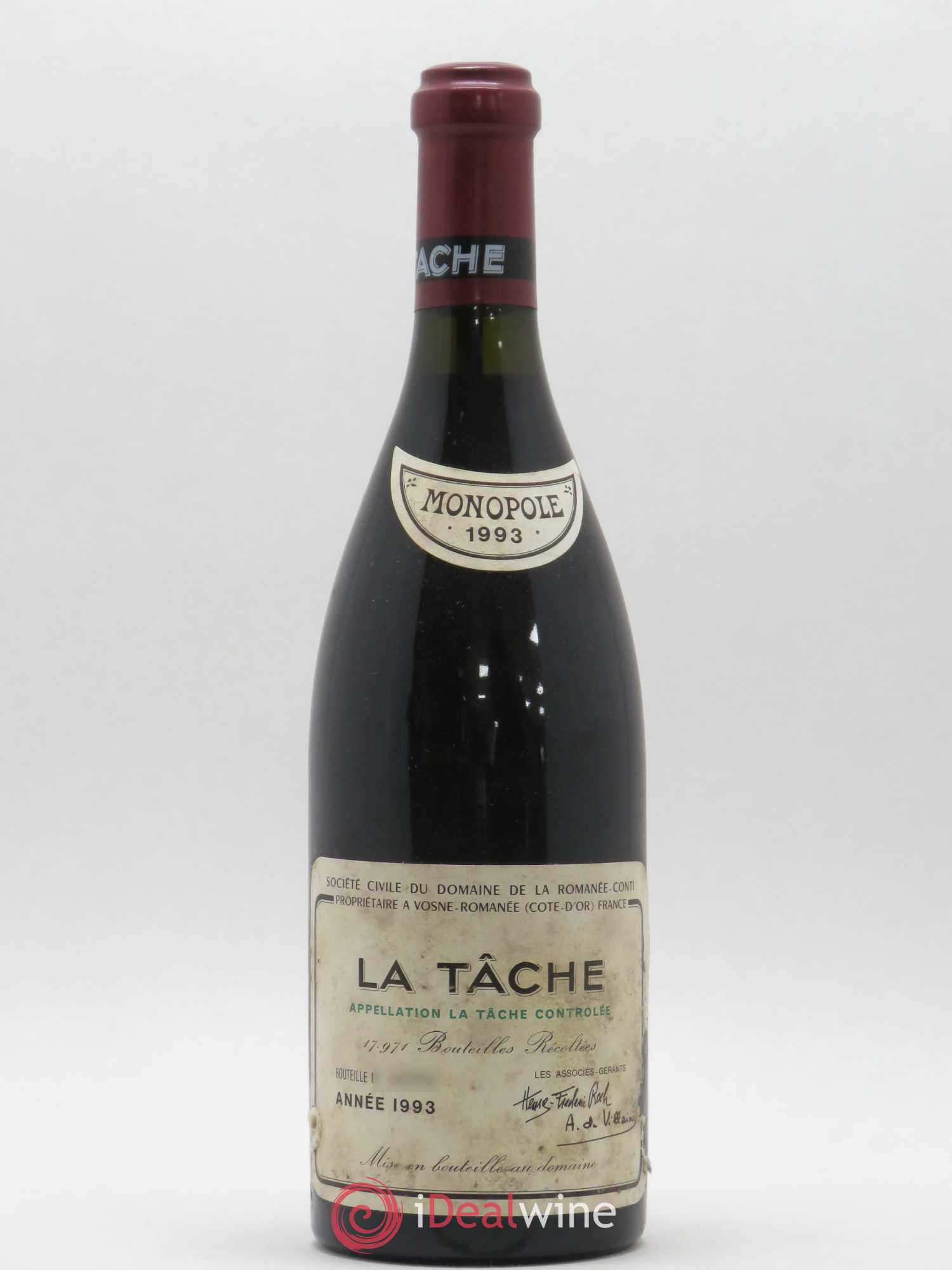 La Tâche Grand Cru Domaine de la Romanée-Conti  1993 - Lot of 1 Bottle