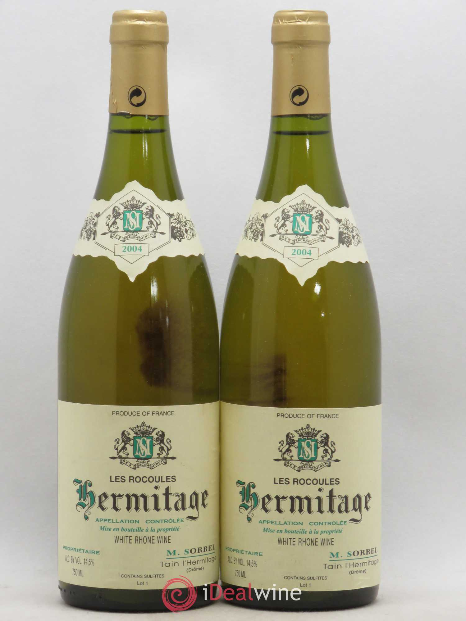 Hermitage Les Rocoules Domaine Marc Sorrel  2004 - Lot of 2 Bottles